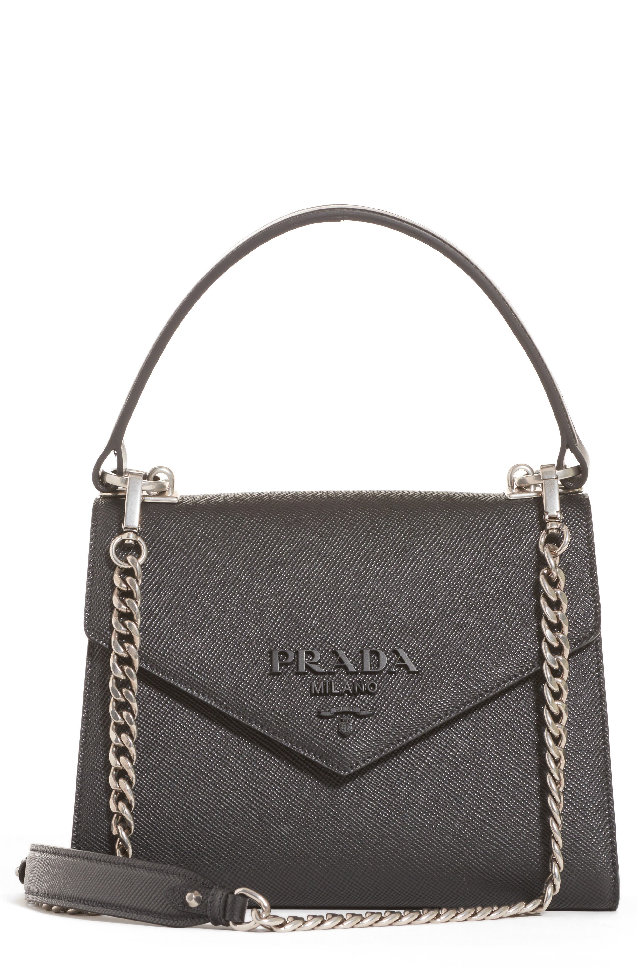 Prada Monochrome Logo Top Handle Leather Handbag