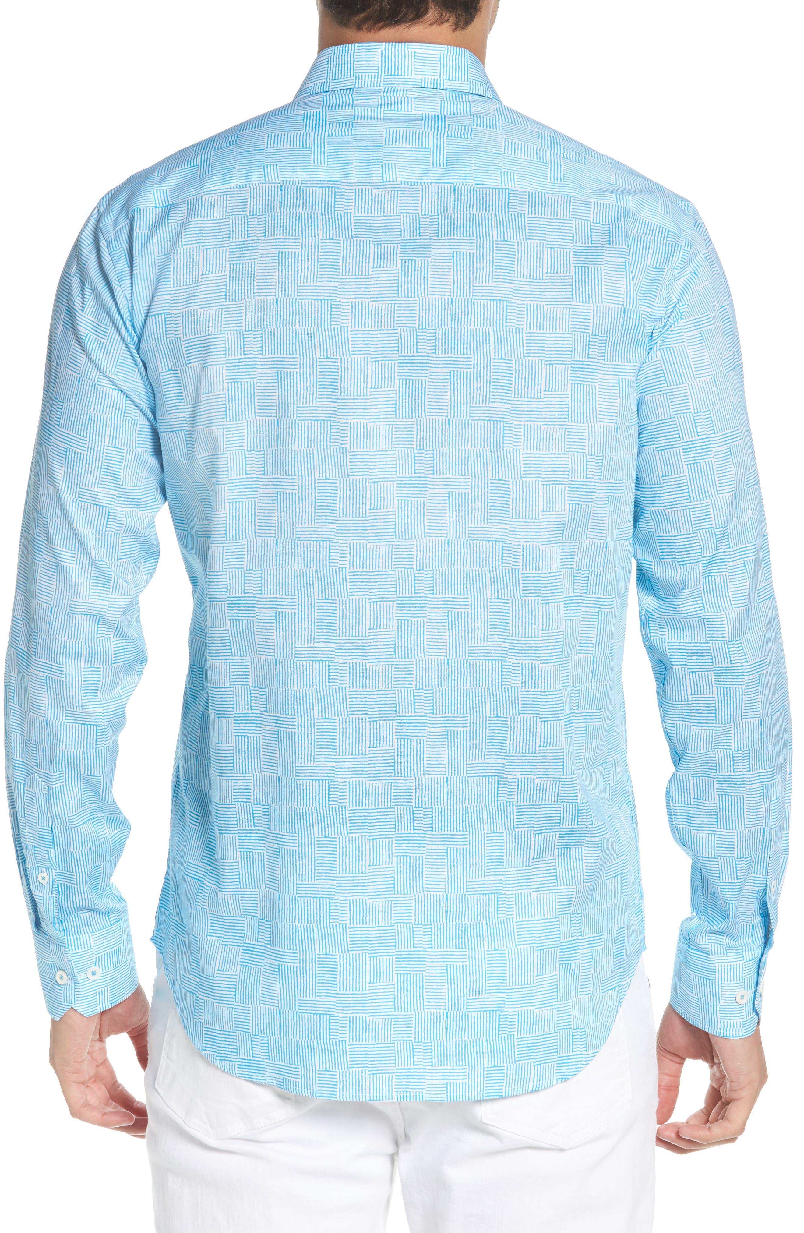 Shaped Fit Basket Weave Print Sport Shirt,                             Alternate thumbnail 3, color,                             Aqua