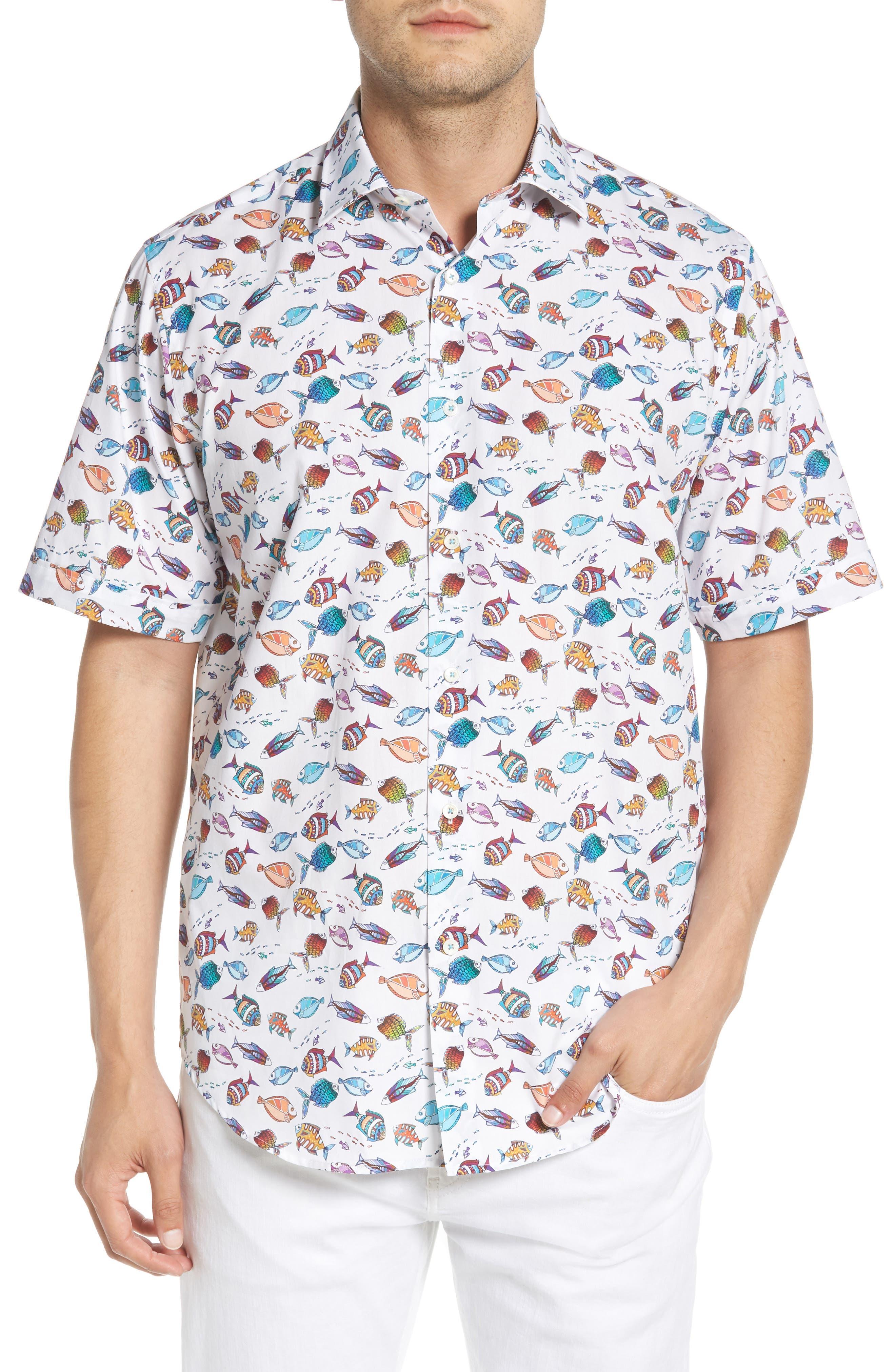 Classic Fit Fish Print Sport Shirt,                         Main,                         color, Seafoam