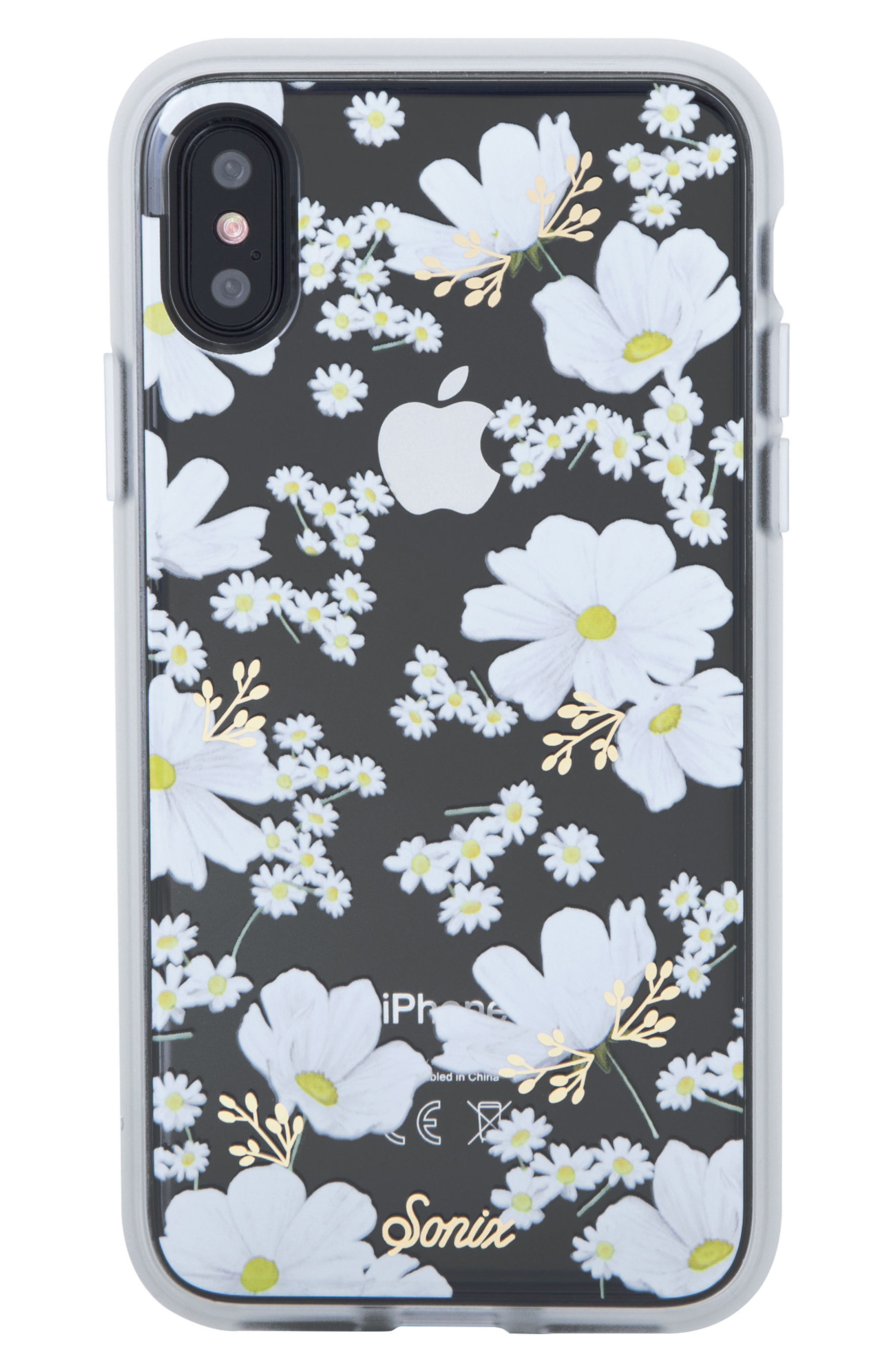 Ditsy Daisy iPhone X Case,                             Main thumbnail 1, color,                             White/ Gold
