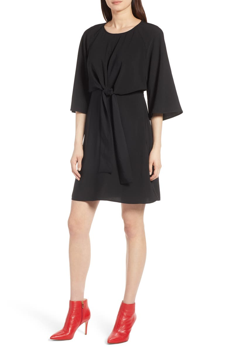Tie Front Dress,                         Main,                         color, Black