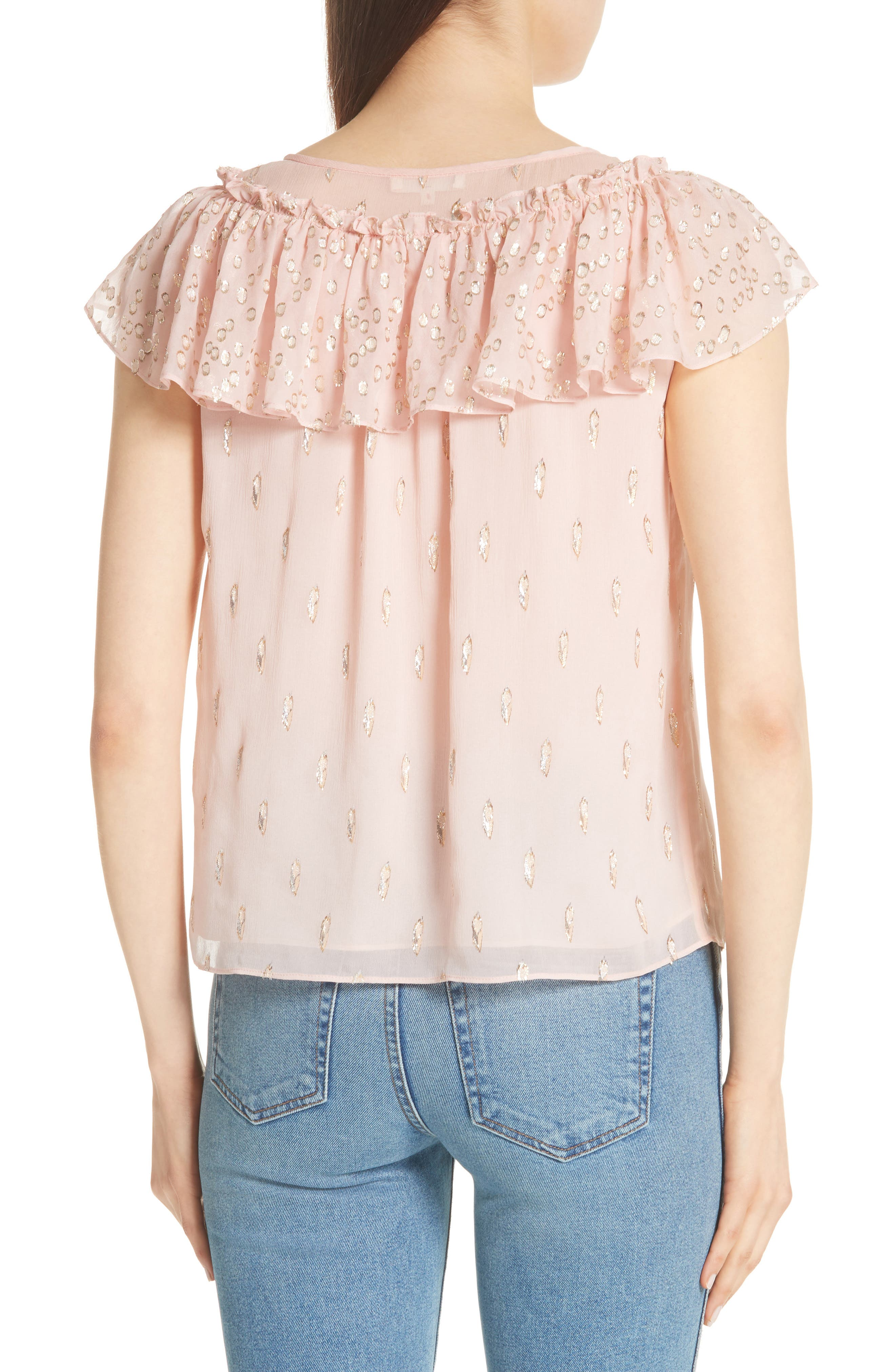 Metallic Fille Coupé Ruffle Silk Top,                             Alternate thumbnail 2, color,                             Powder Pink