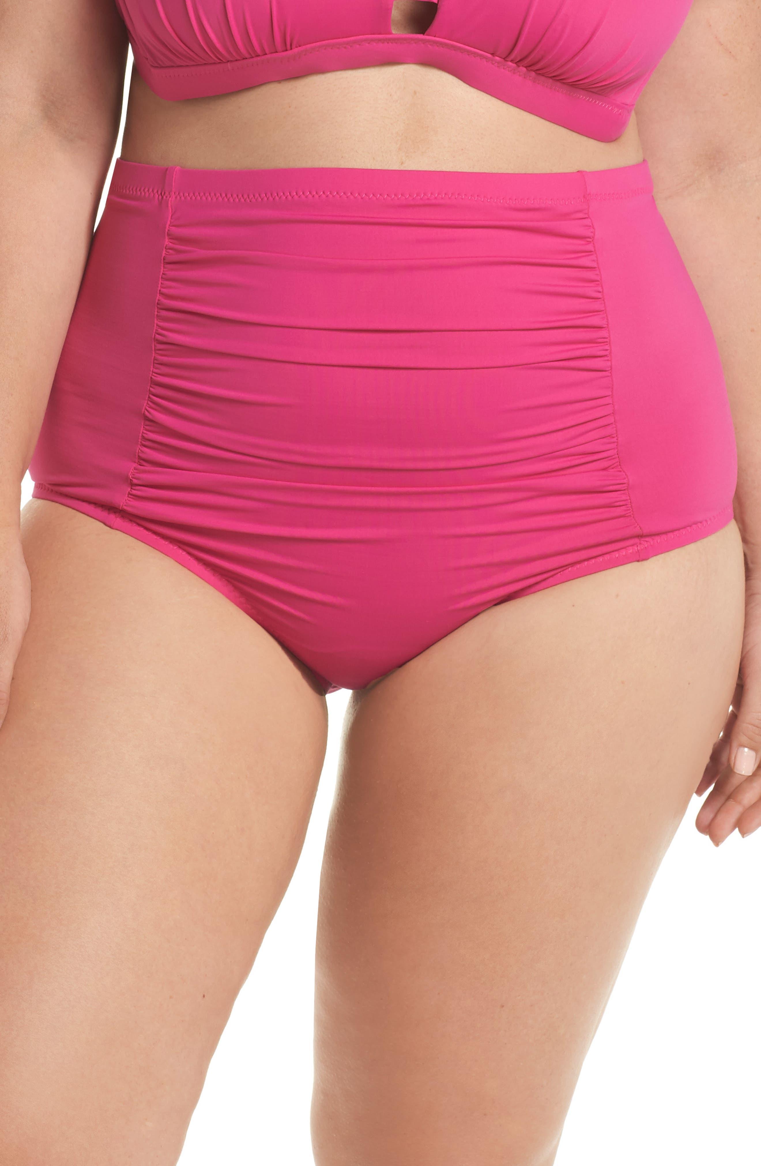 Color Code High Waist Bikini Bottoms,                         Main,                         color, Flamingo