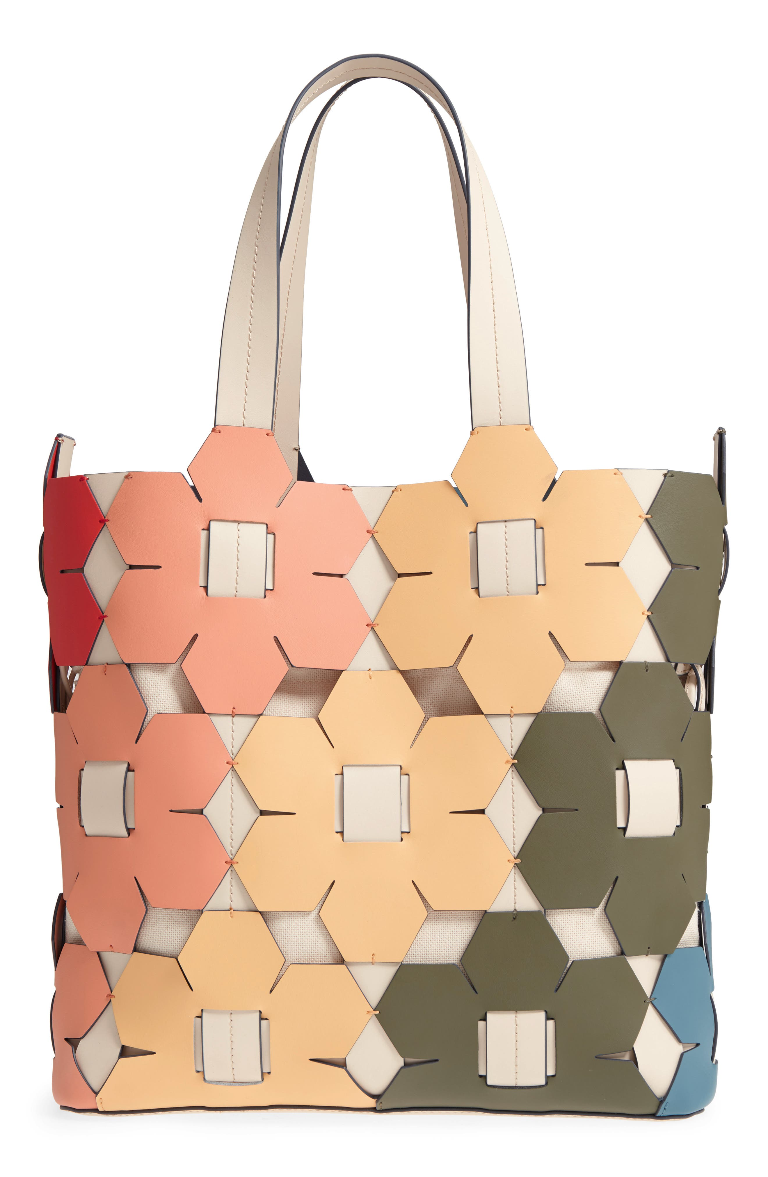 ZAC Zac Earth Hex Floral Leather Tote,                             Alternate thumbnail 3, color,                             Rainbow