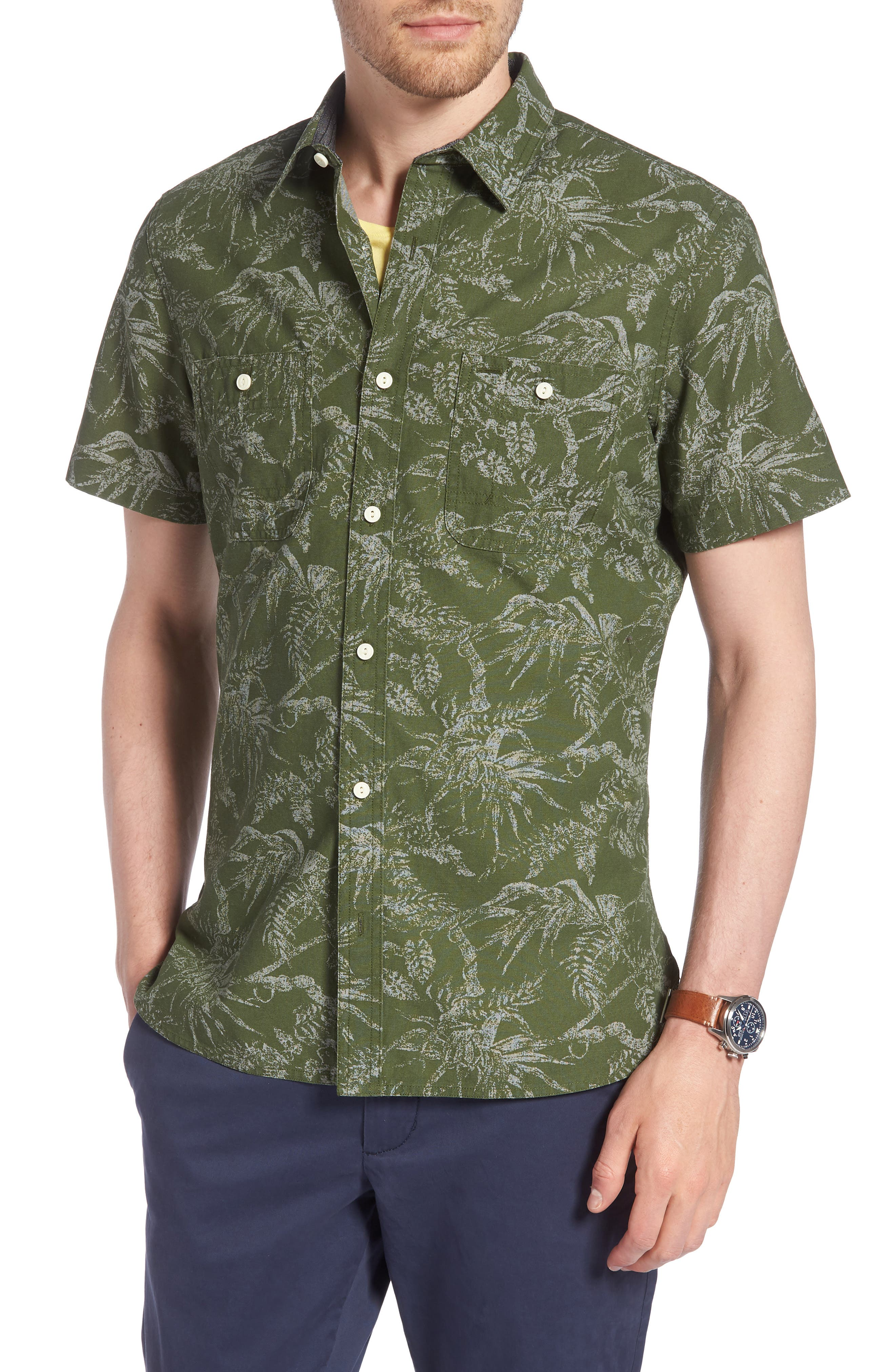 Workwear Trim Fit Leaf Print Sport Shirt,                             Main thumbnail 1, color,                             Green Hedge Chambray Palms