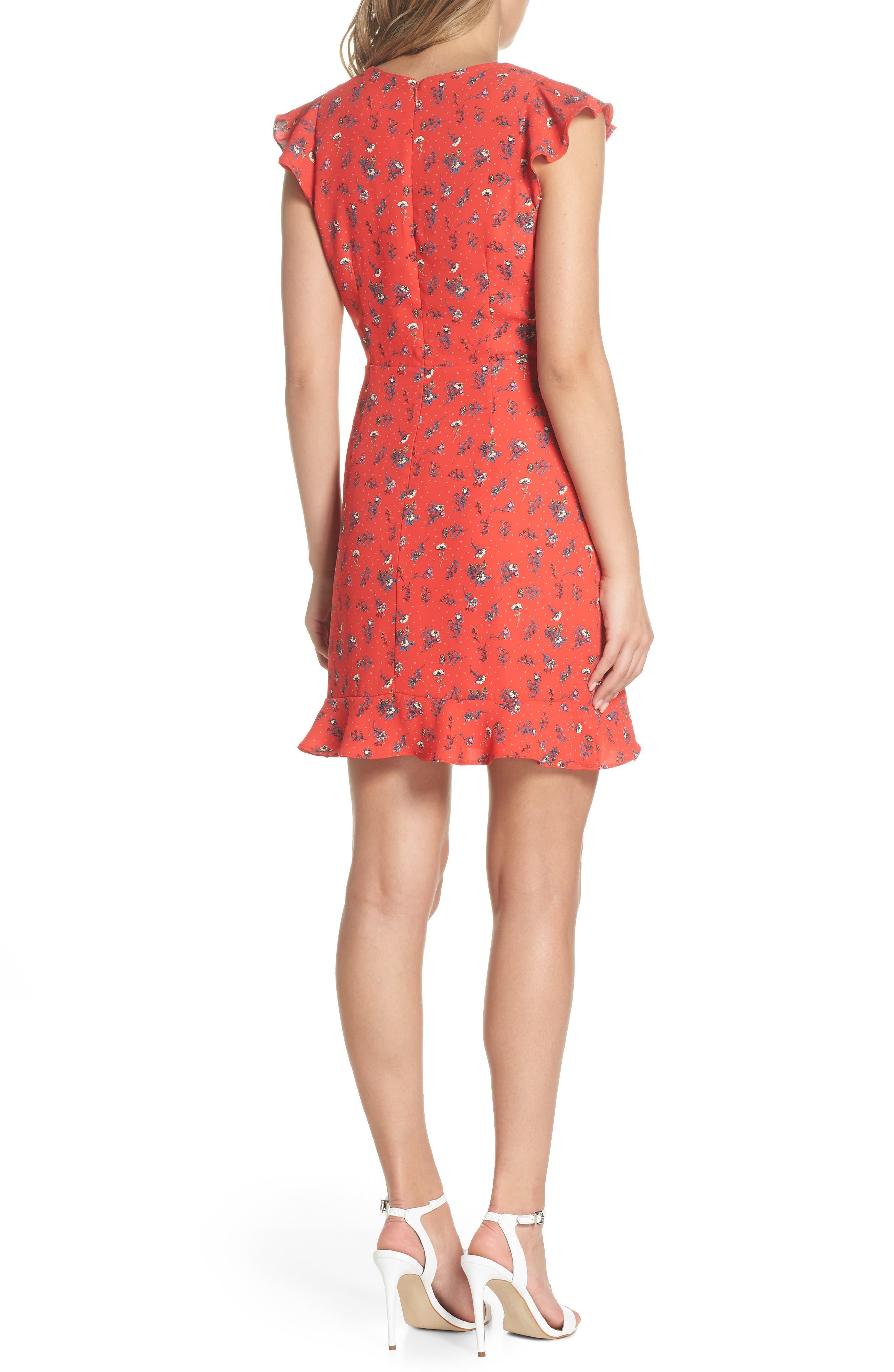 Flutter Sleeve Ruffle Hem Dress,                             Alternate thumbnail 2, color,                             Red Floral Print