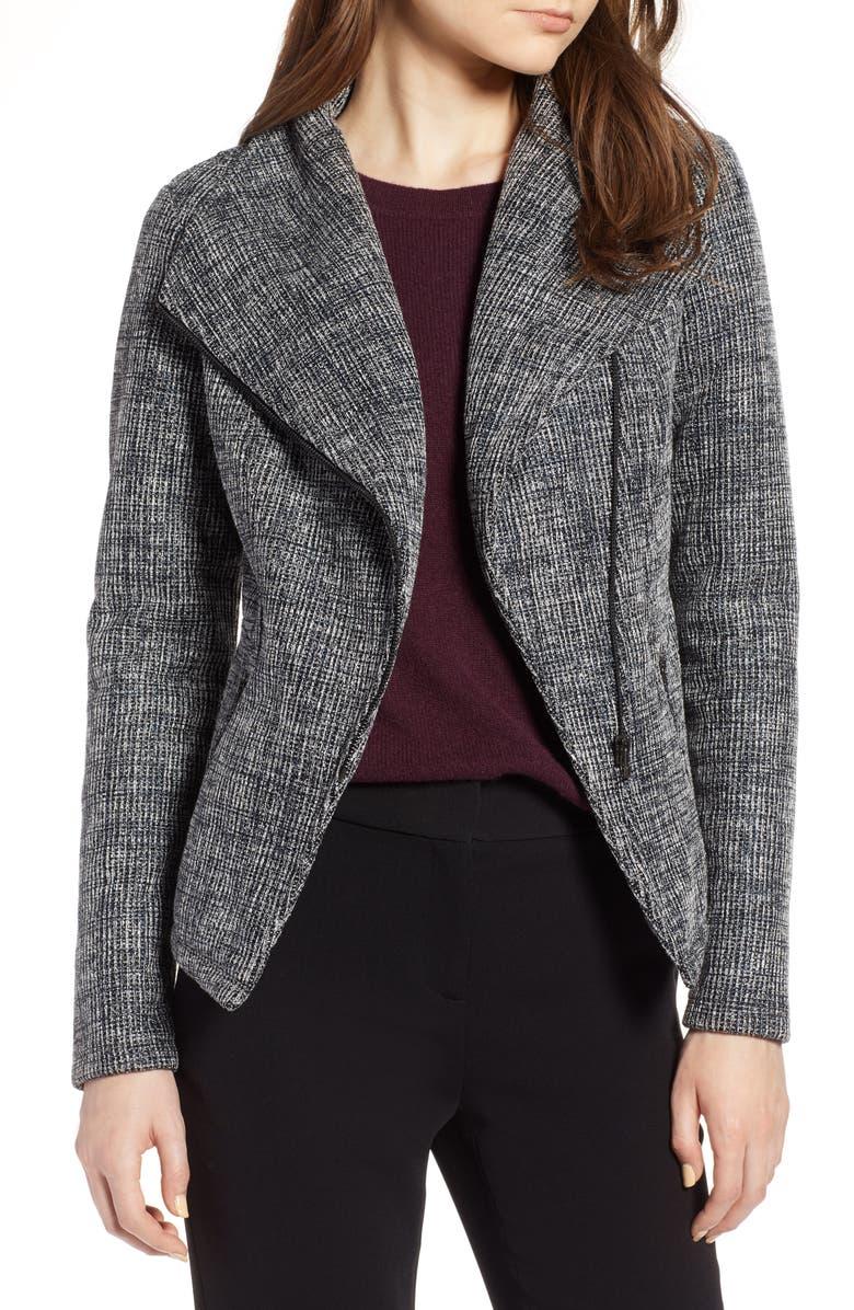 Bonded Tweed Asymmetrical Zip Jacket