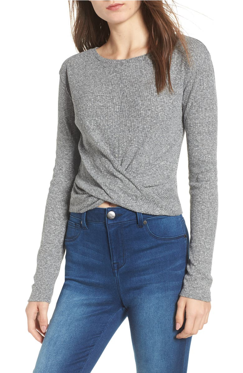 Twist Front Tee,                         Main,                         color, Grey Cloudy Heather