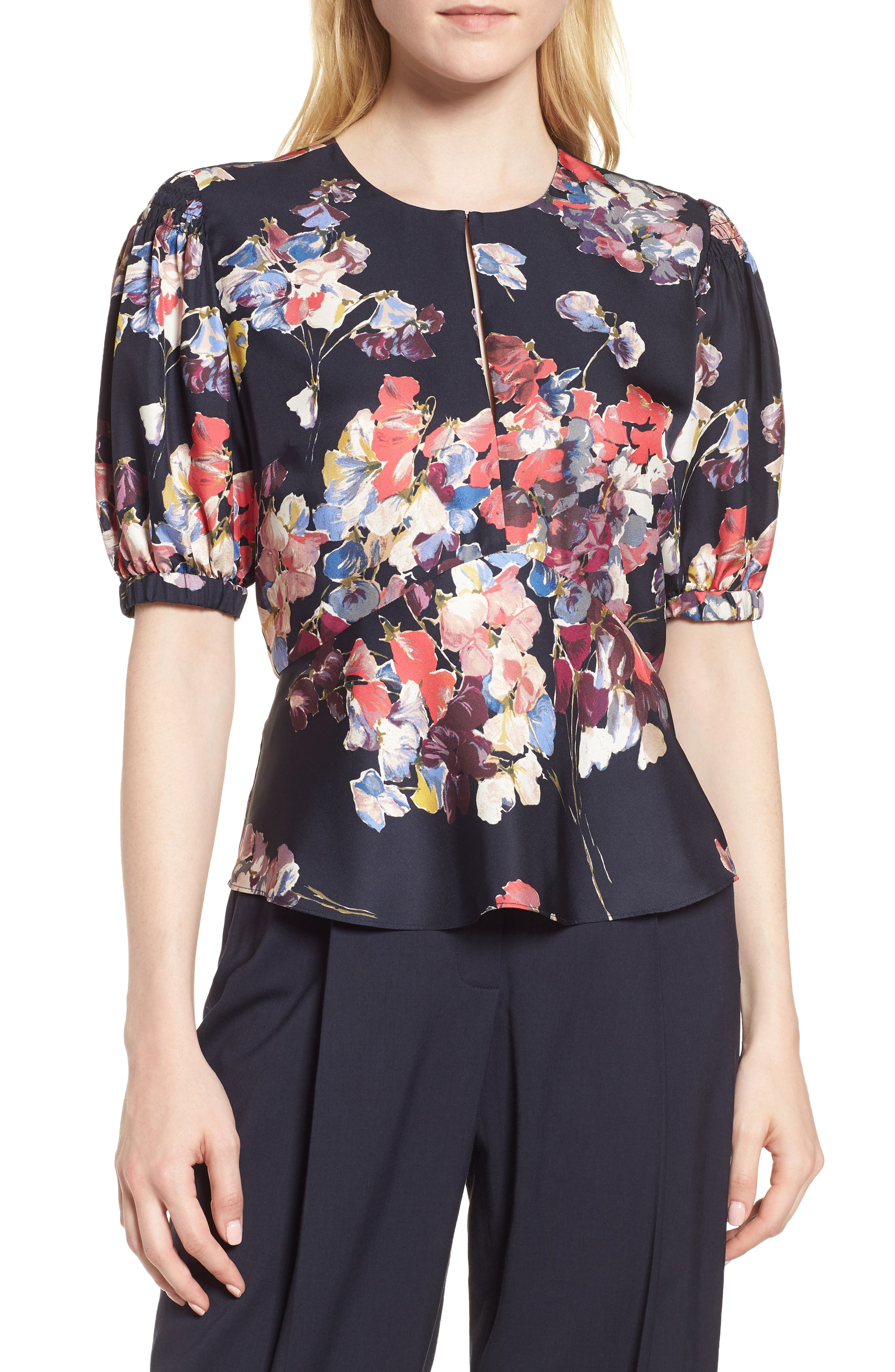 Puffed Sleeve Print Top,                         Main,                         color, Navy Night Sheridan Floral