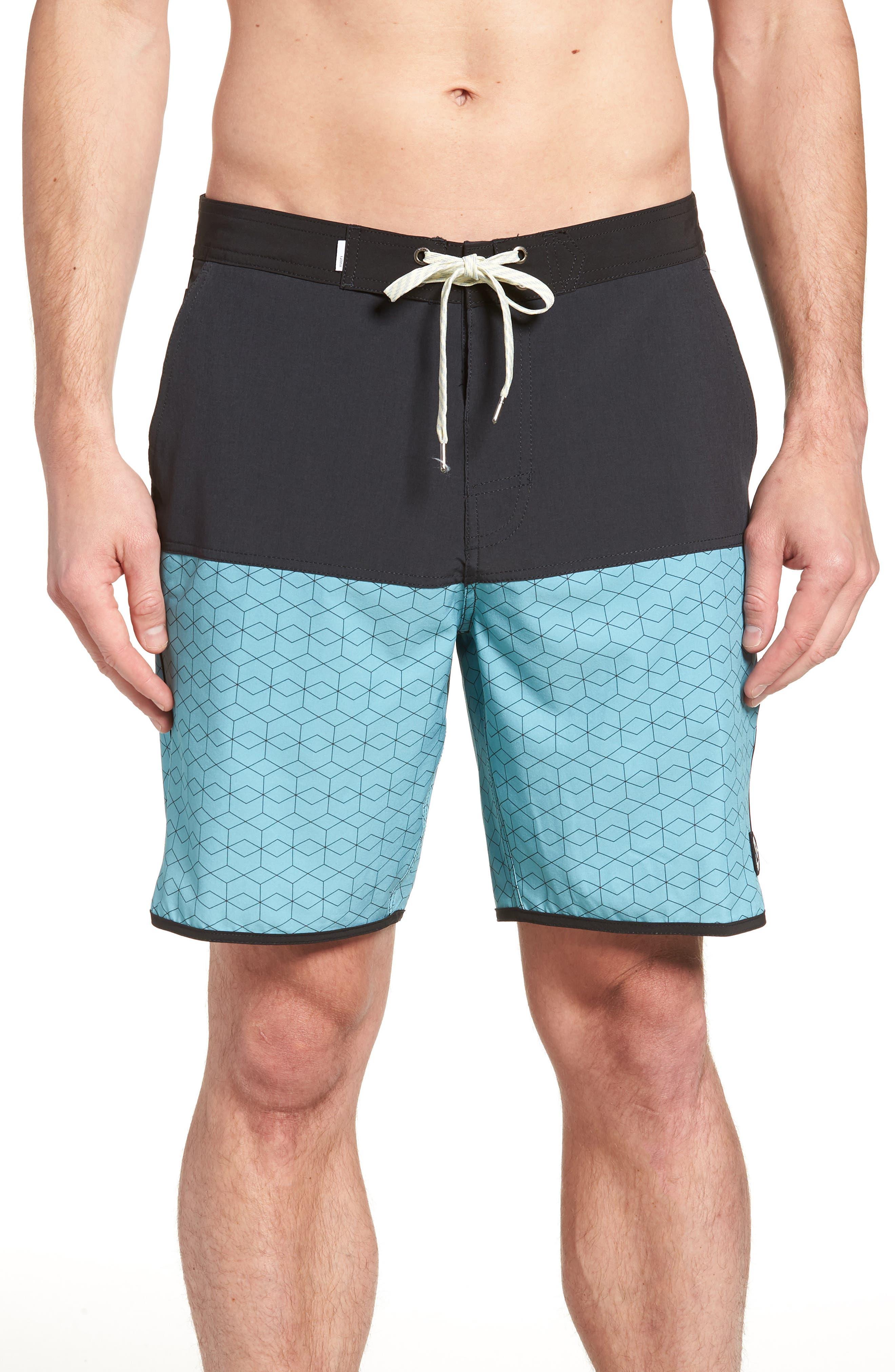 Cruise Hybrid Board Shorts,                         Main,                         color, Glacier Hex Block
