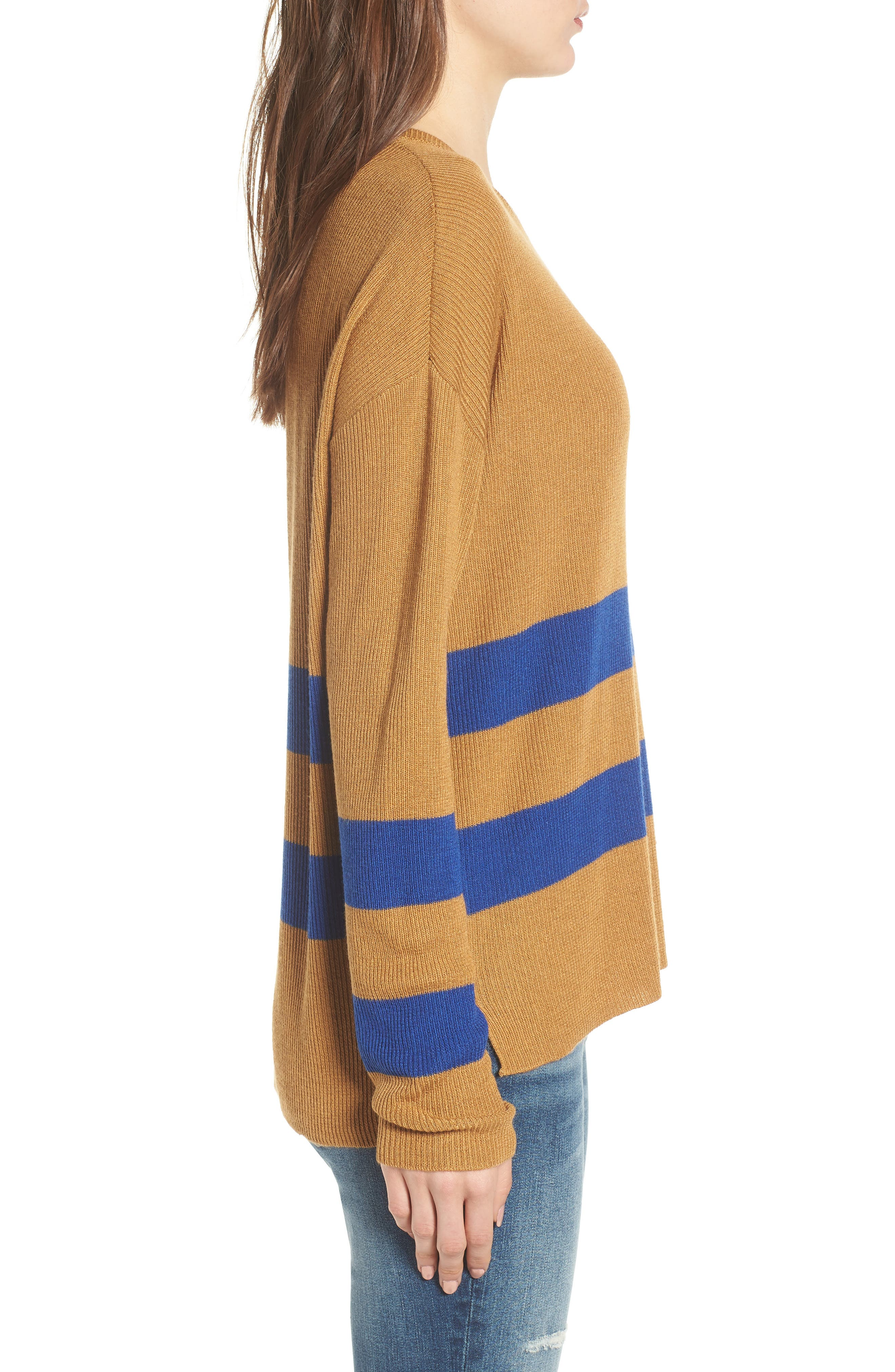 Varsity Stripe Sweater,                             Alternate thumbnail 3, color,                             Brown Cattail Kenzie Stripe