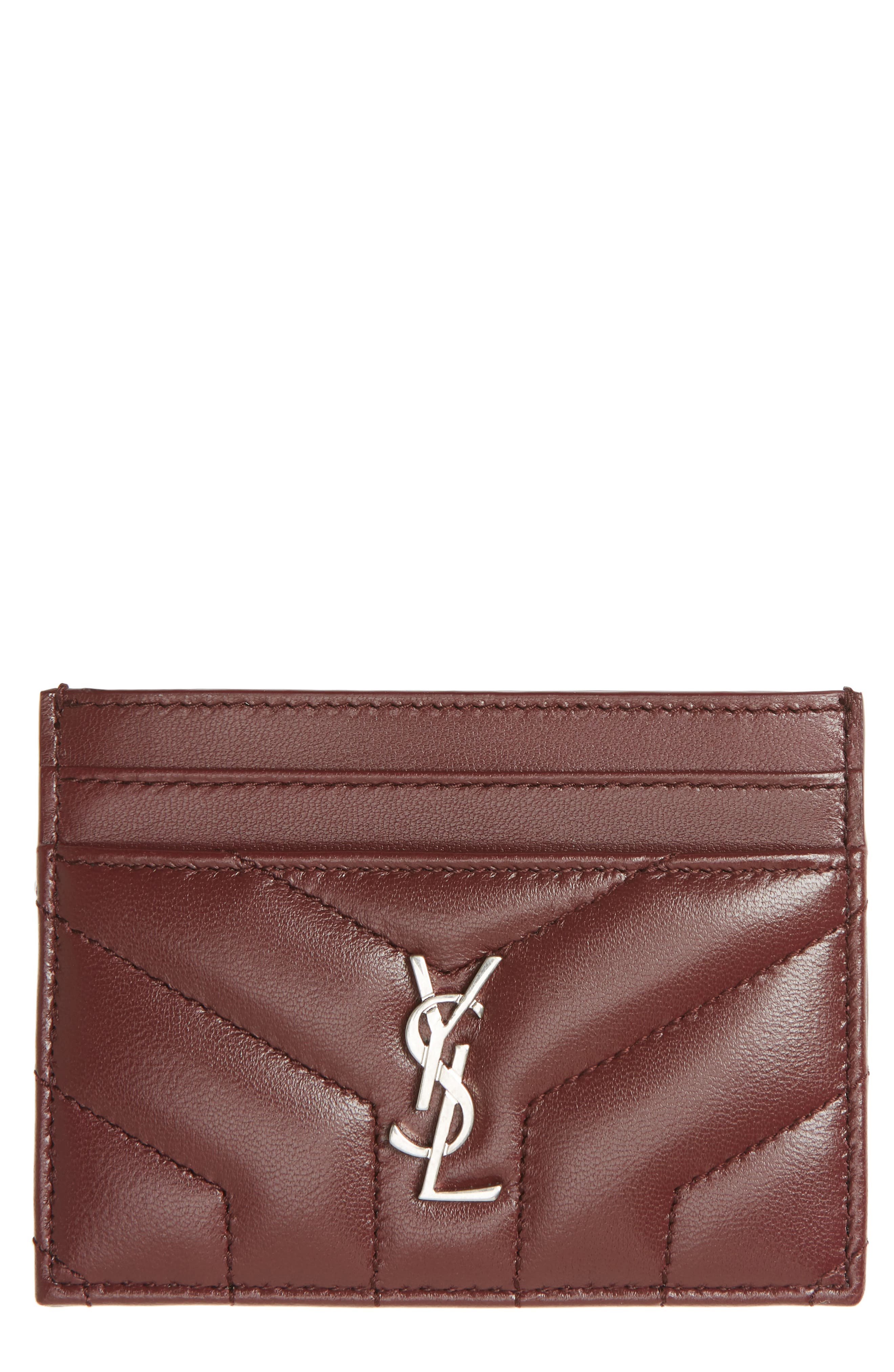 Loulou Monogram Quilted Leather Credit Card Case,                             Main thumbnail 1, color,                             Rouge Legion