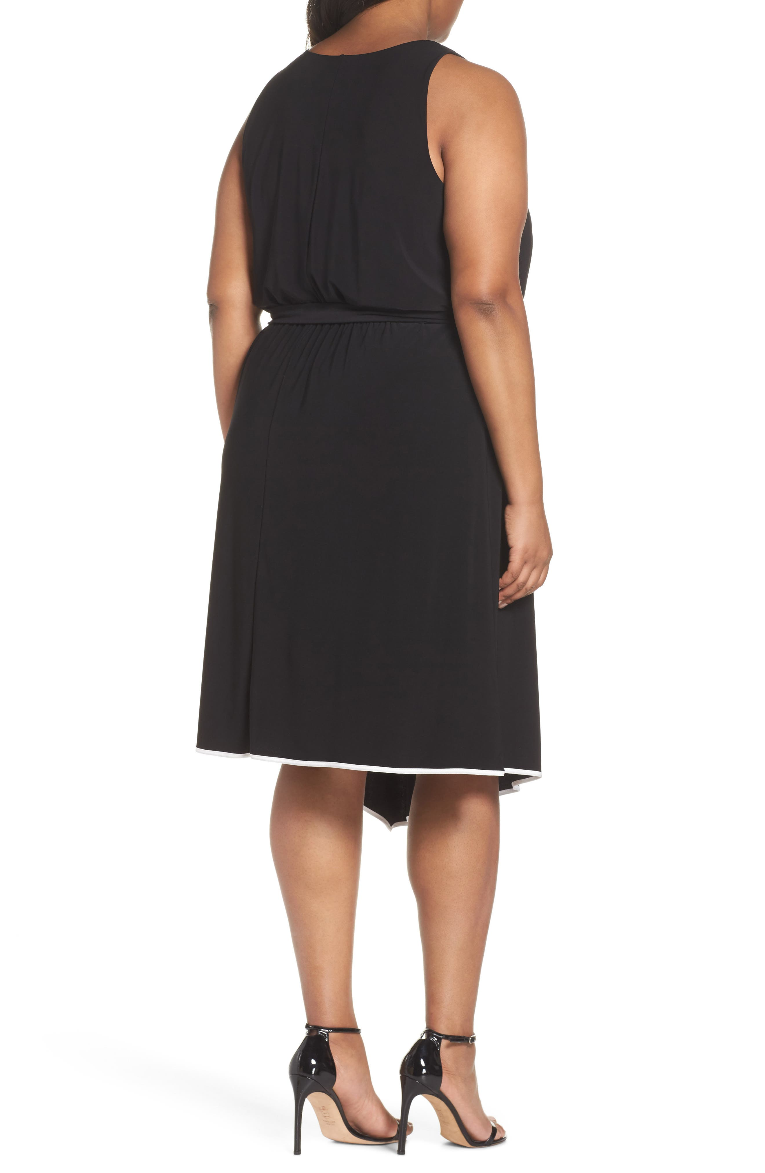 Matte Jersey Handkerchief Hem Dress,                             Alternate thumbnail 2, color,                             Black