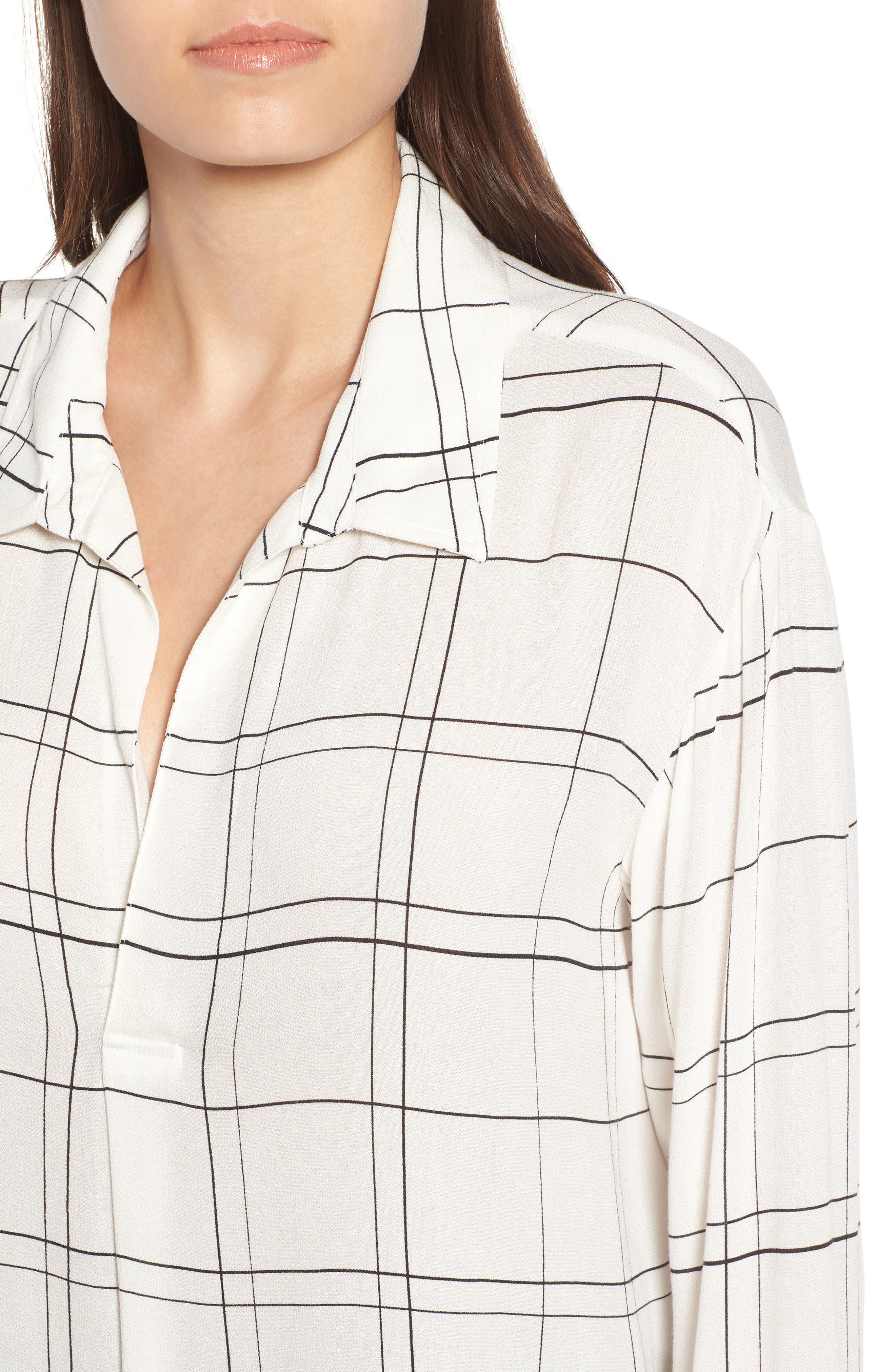 Henley Woven Shirt,                             Alternate thumbnail 4, color,                             Ivory Glam City Check