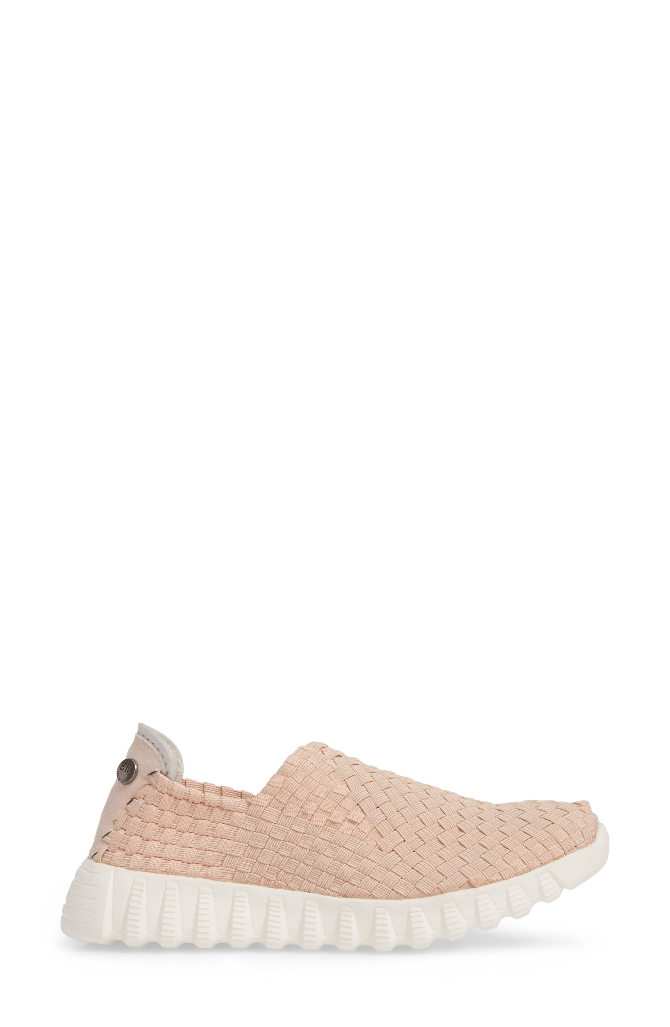 Woven Slip-On Sneaker,                             Alternate thumbnail 3, color,                             Blush Fabric