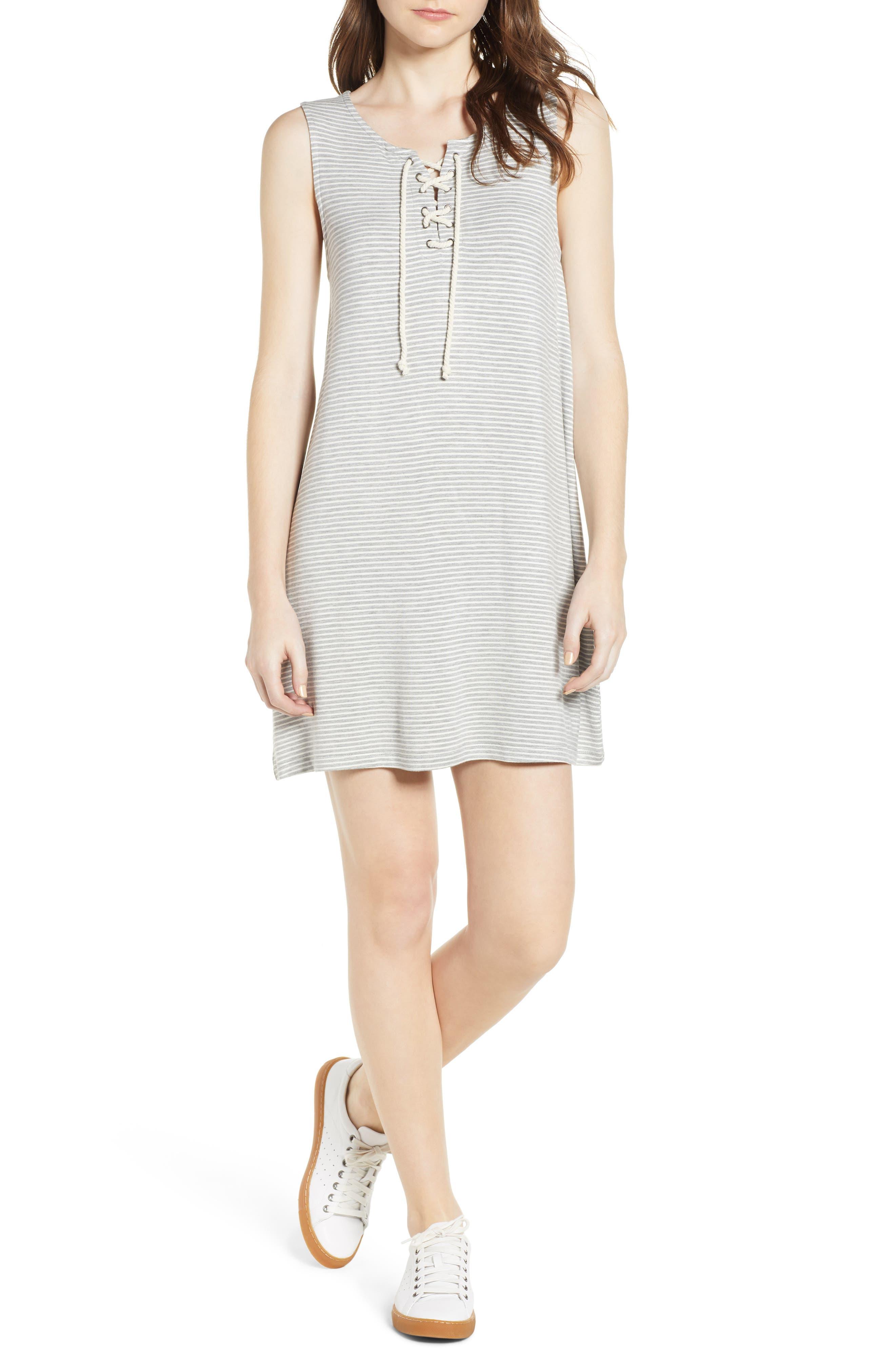 Dedrick Stripe Shift Dress,                             Main thumbnail 1, color,                             Light H. Grey