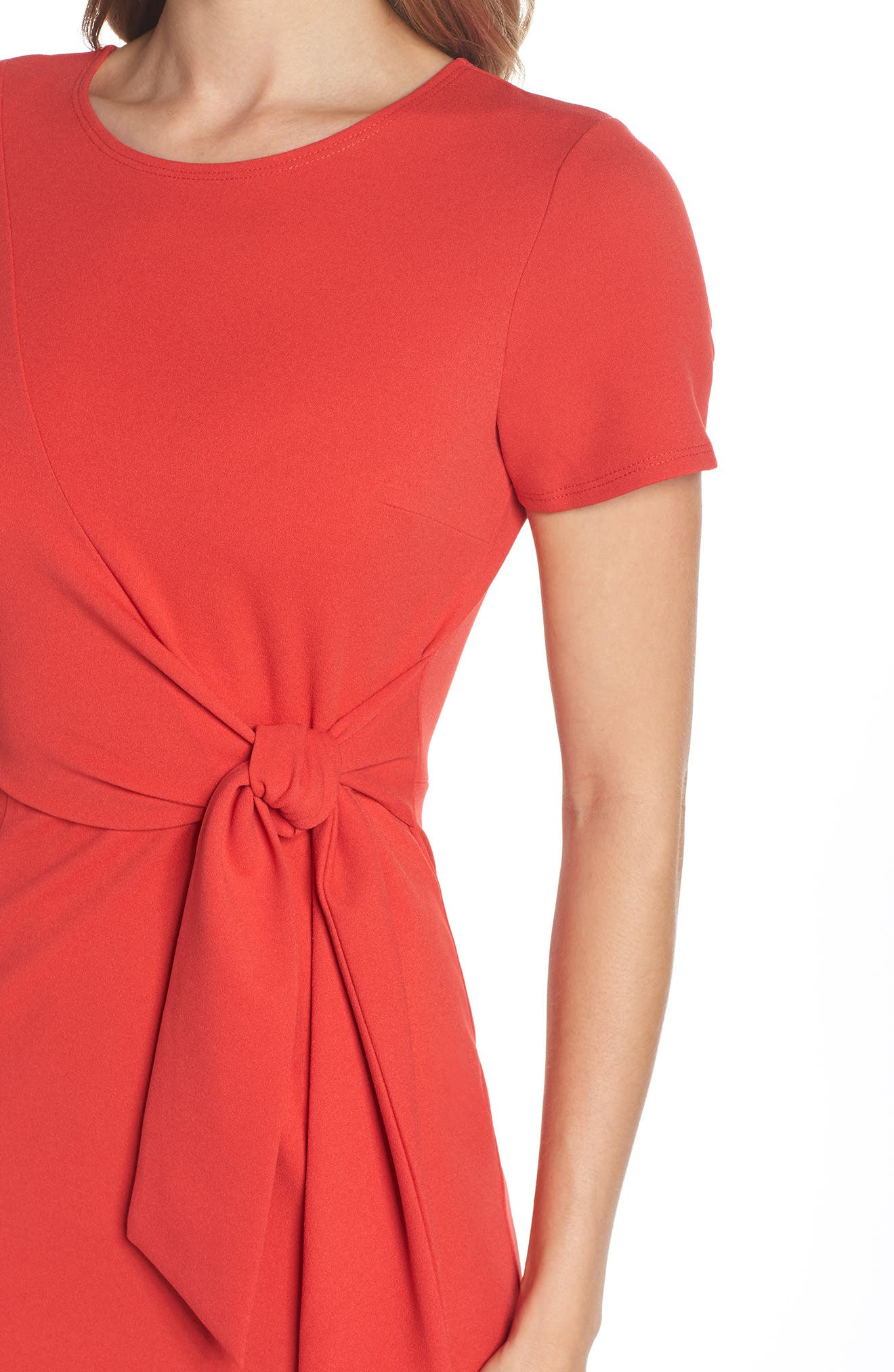 Tie Front Sheath Dress,                             Alternate thumbnail 4, color,                             Coral