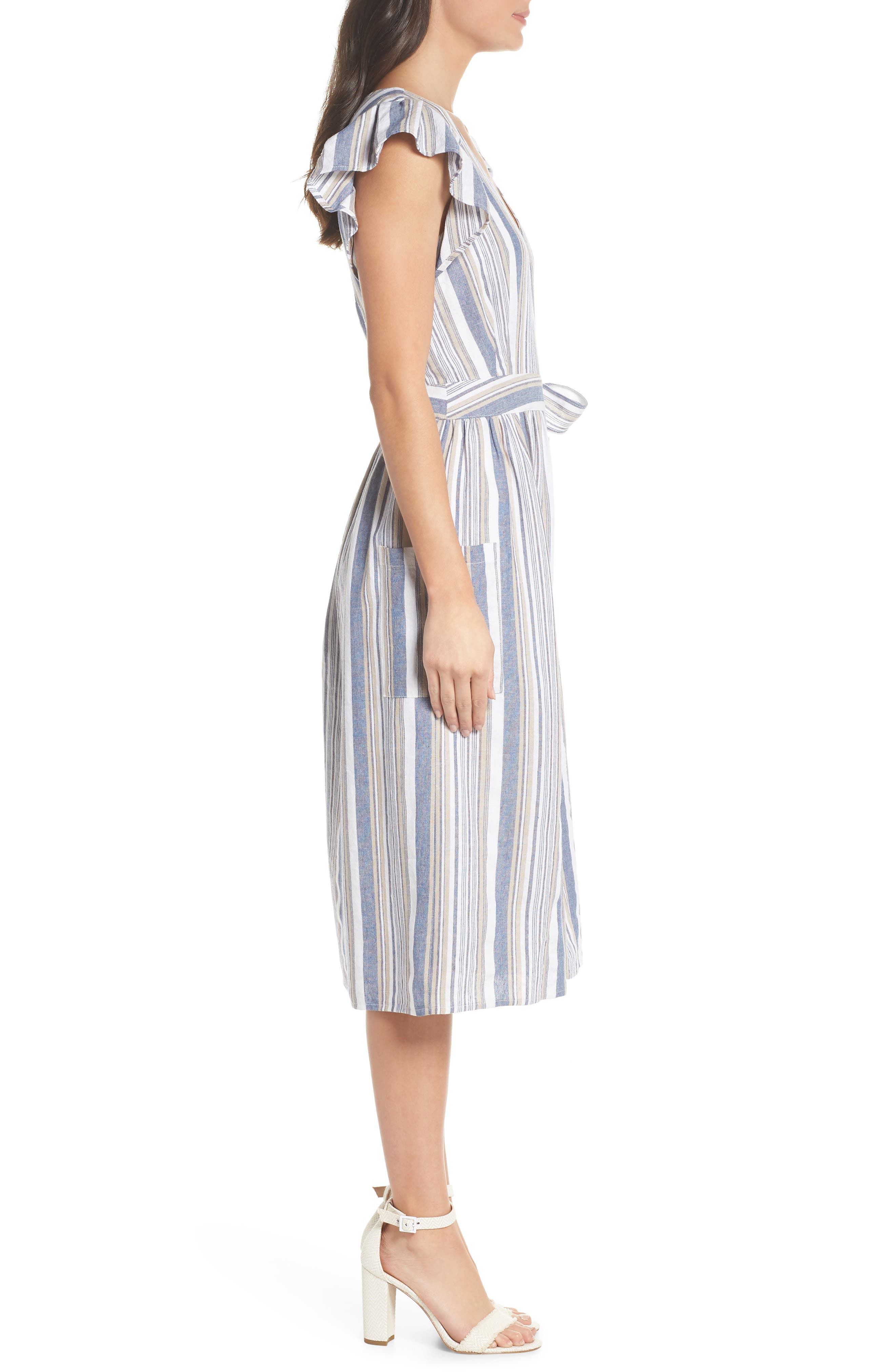 Stripe Button Front Fit & Flare Midi Dress,                             Alternate thumbnail 3, color,                             Blue Multi