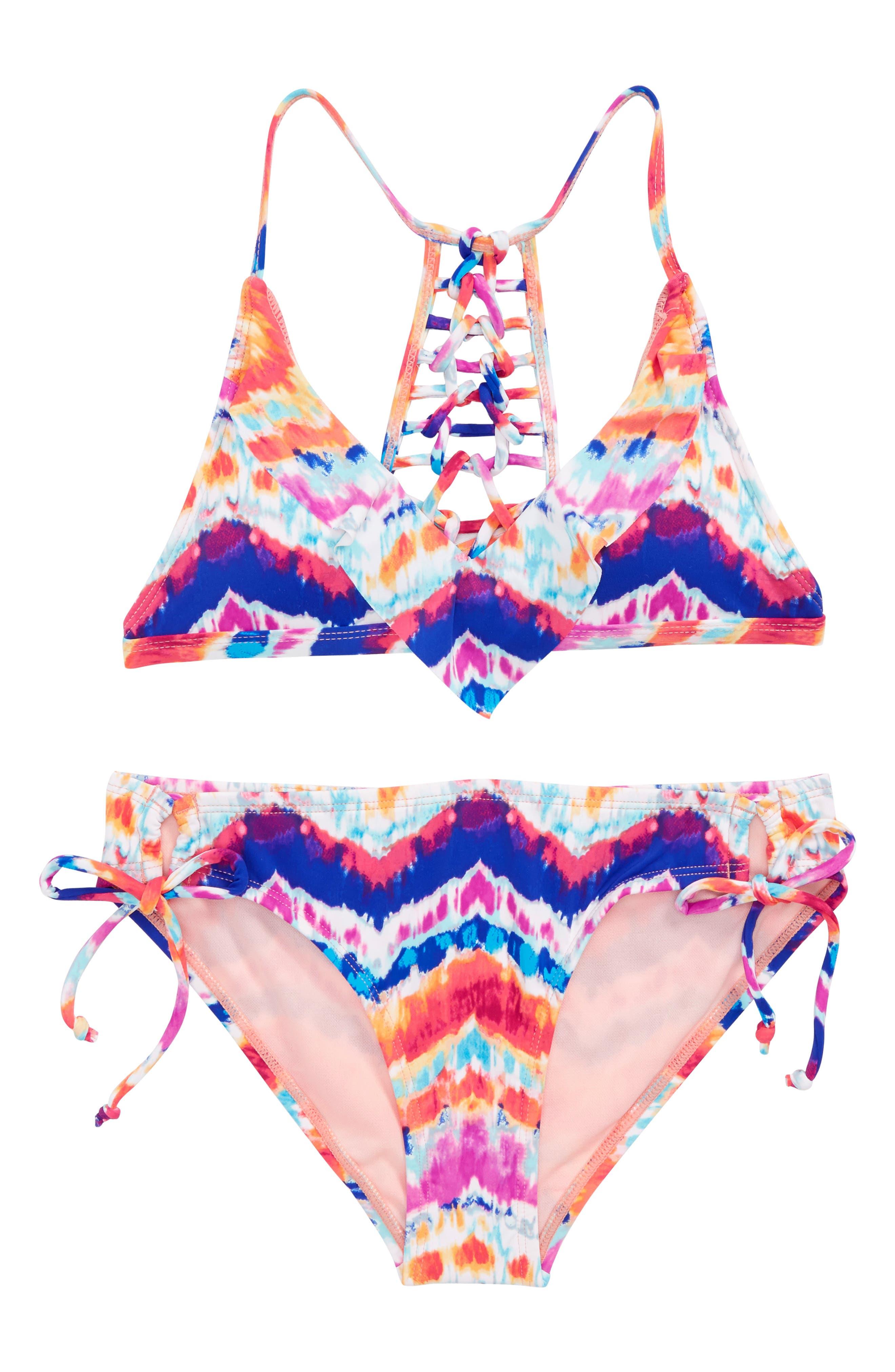 Chevron Two-Piece Swimsuit,                             Main thumbnail 1, color,                             Multi