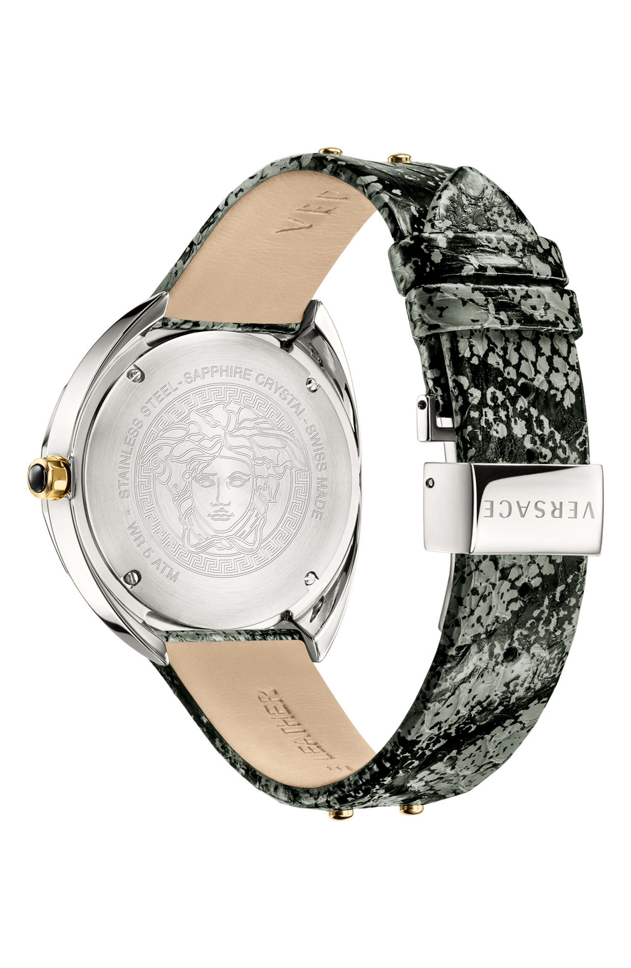 Shadov Snakeskin Leather Strap Watch, 38mm,                             Alternate thumbnail 2, color,                             Grey/ Silver