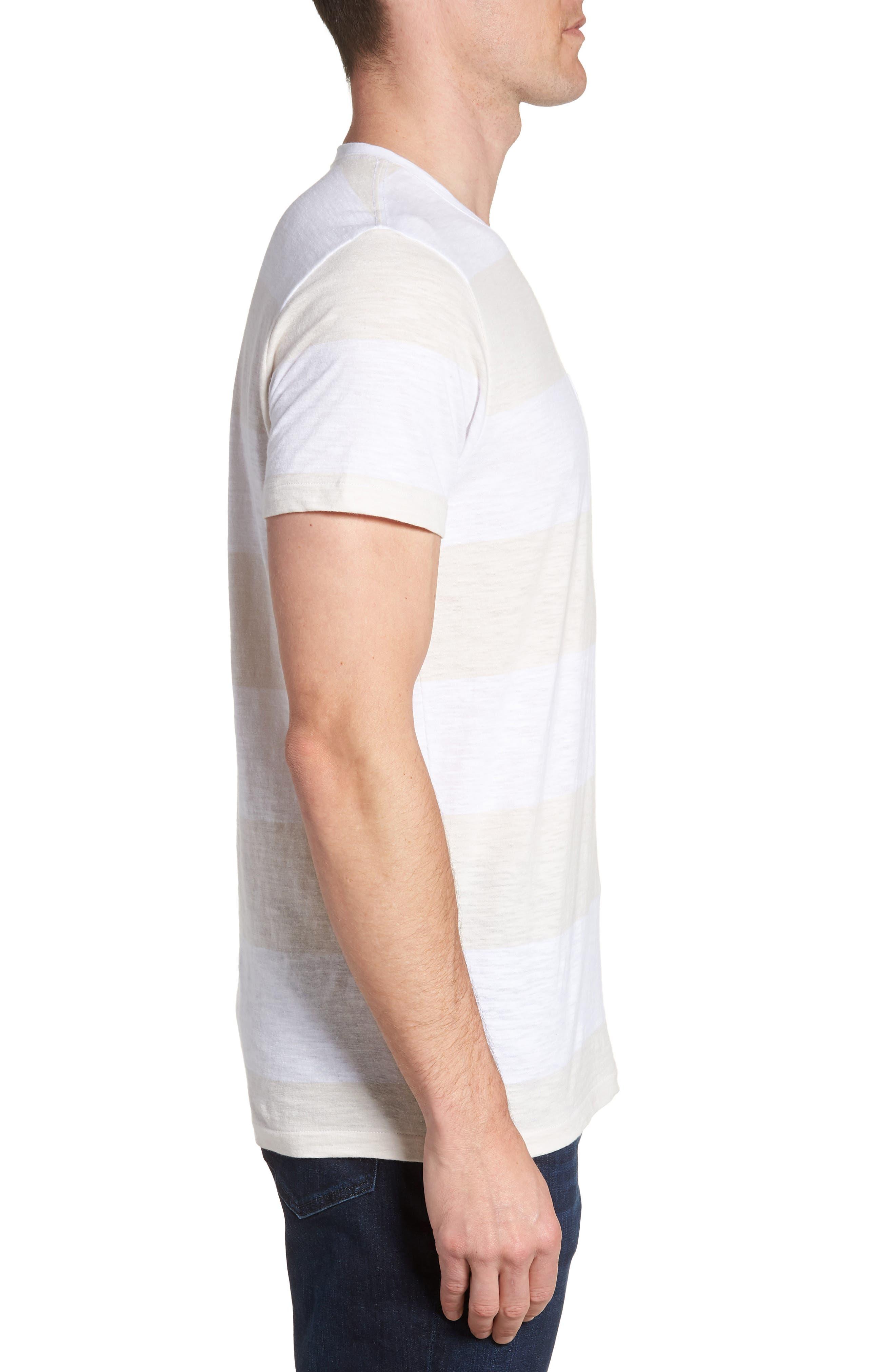 Block Stripe Slim Fit Pocket T-Shirt,                             Alternate thumbnail 3, color,                             White/ Seashell