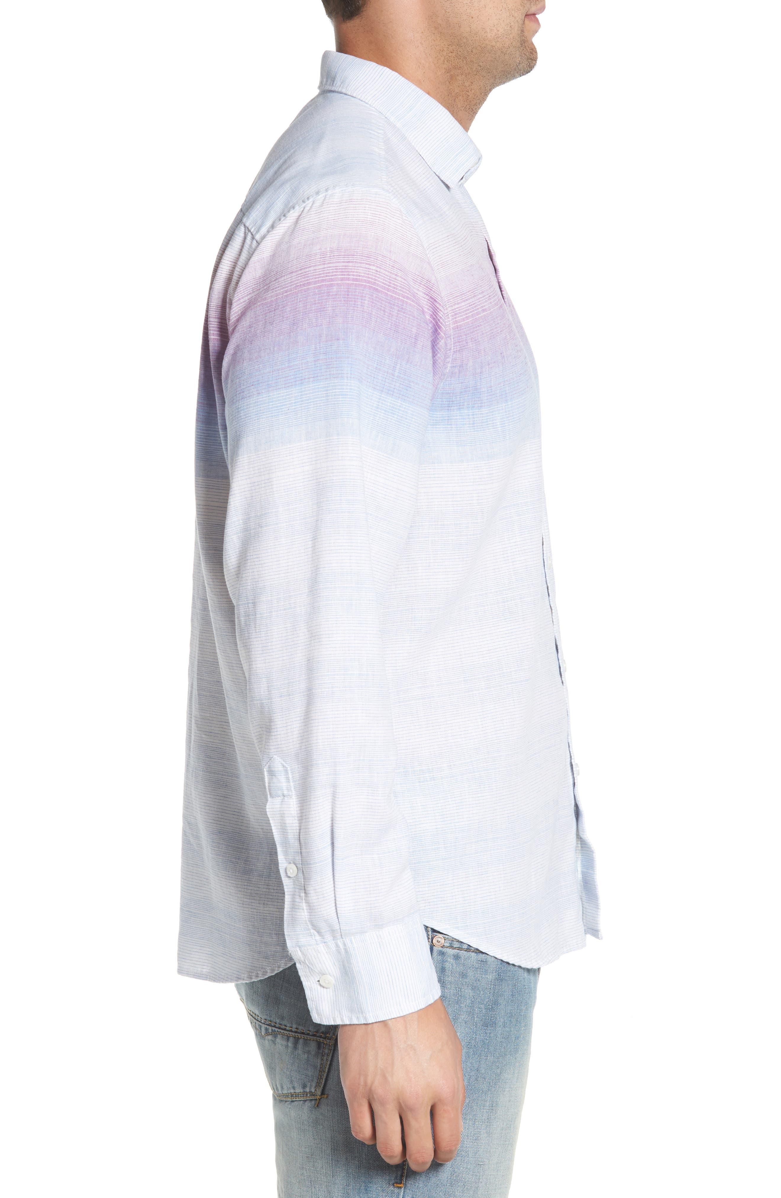 Sunset Ombré Linen Blend Sport Shirt,                             Alternate thumbnail 4, color,                             White