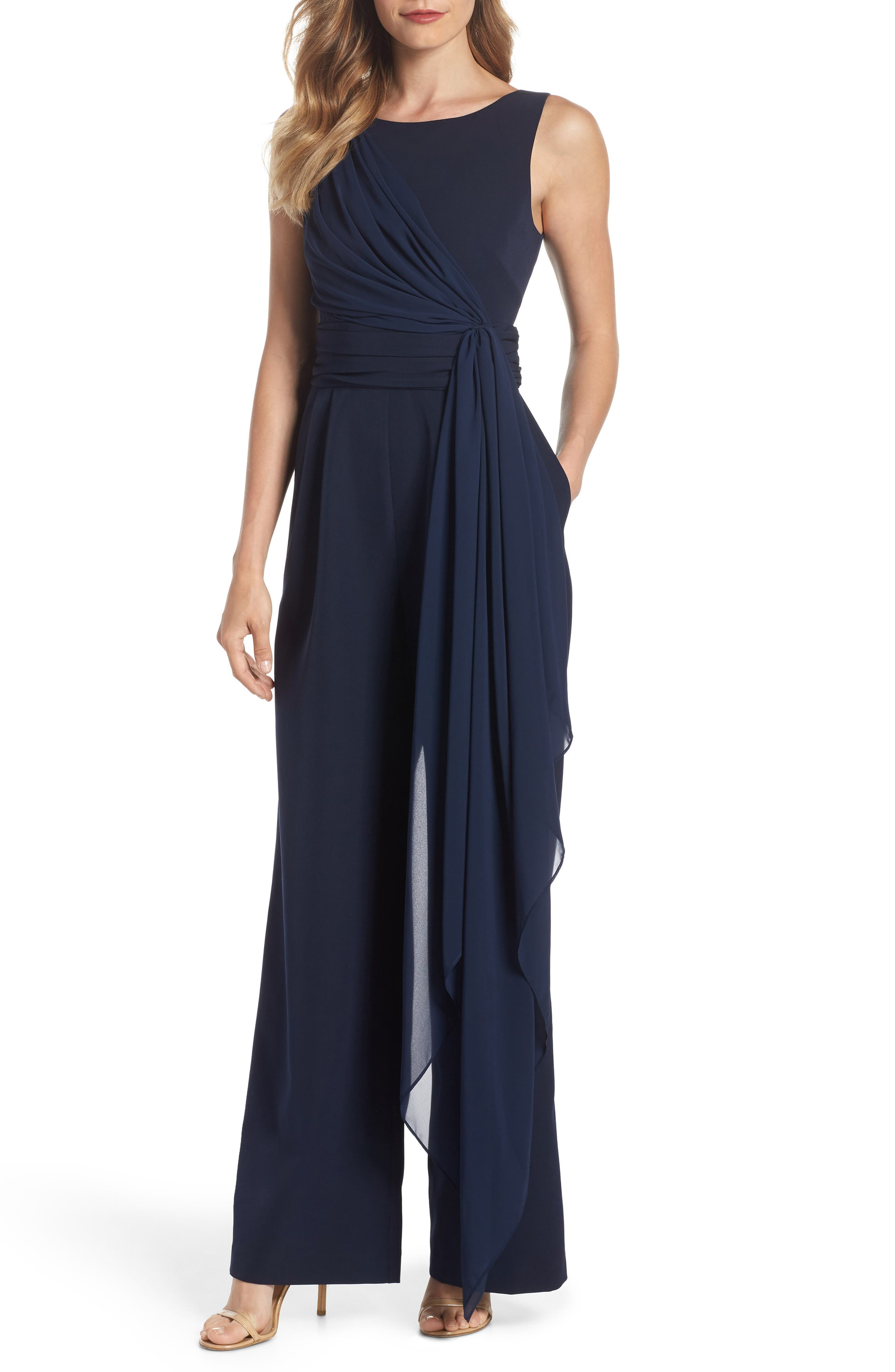 Cascading Tie Jumpsuit,                         Main,                         color, Navy