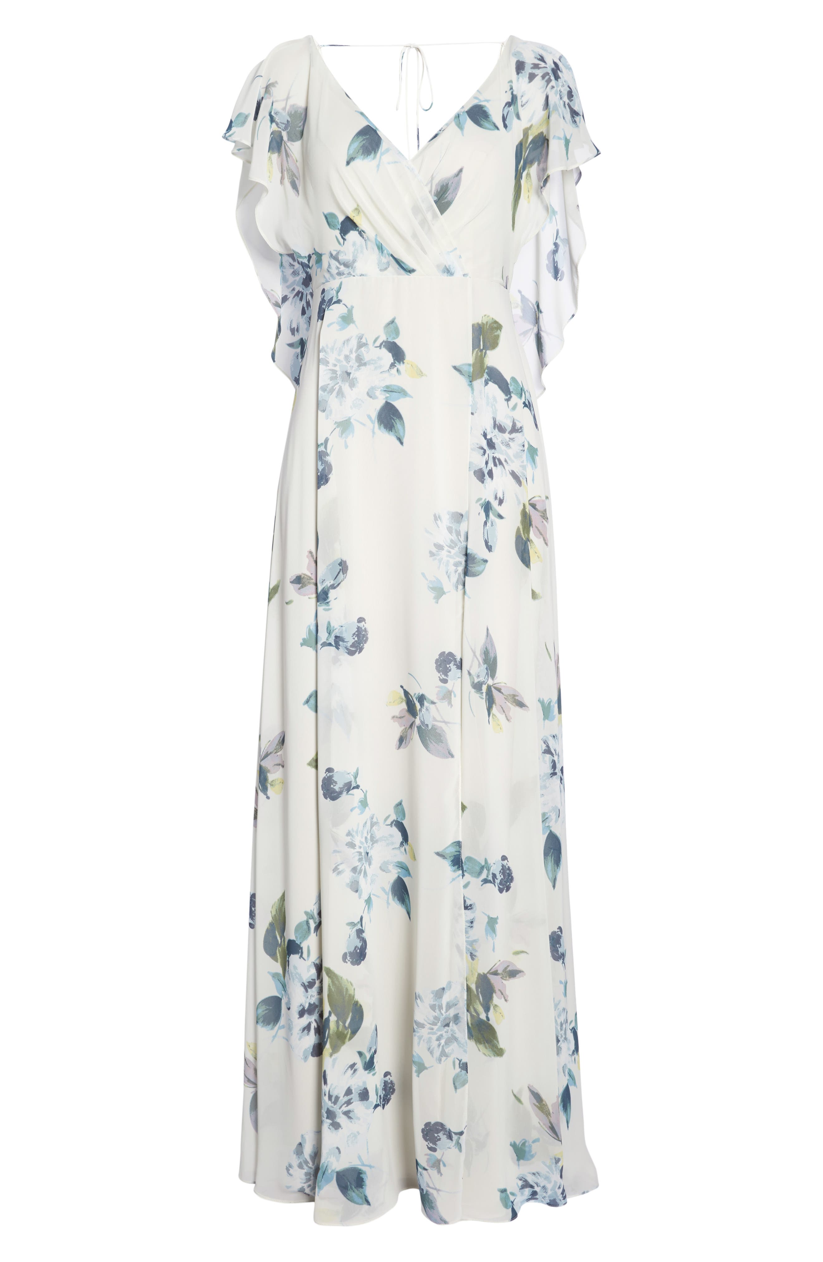 Alanna Ohana Print Open Back Print Chiffon Gown,                             Alternate thumbnail 7, color,                             Soft Sage Blue