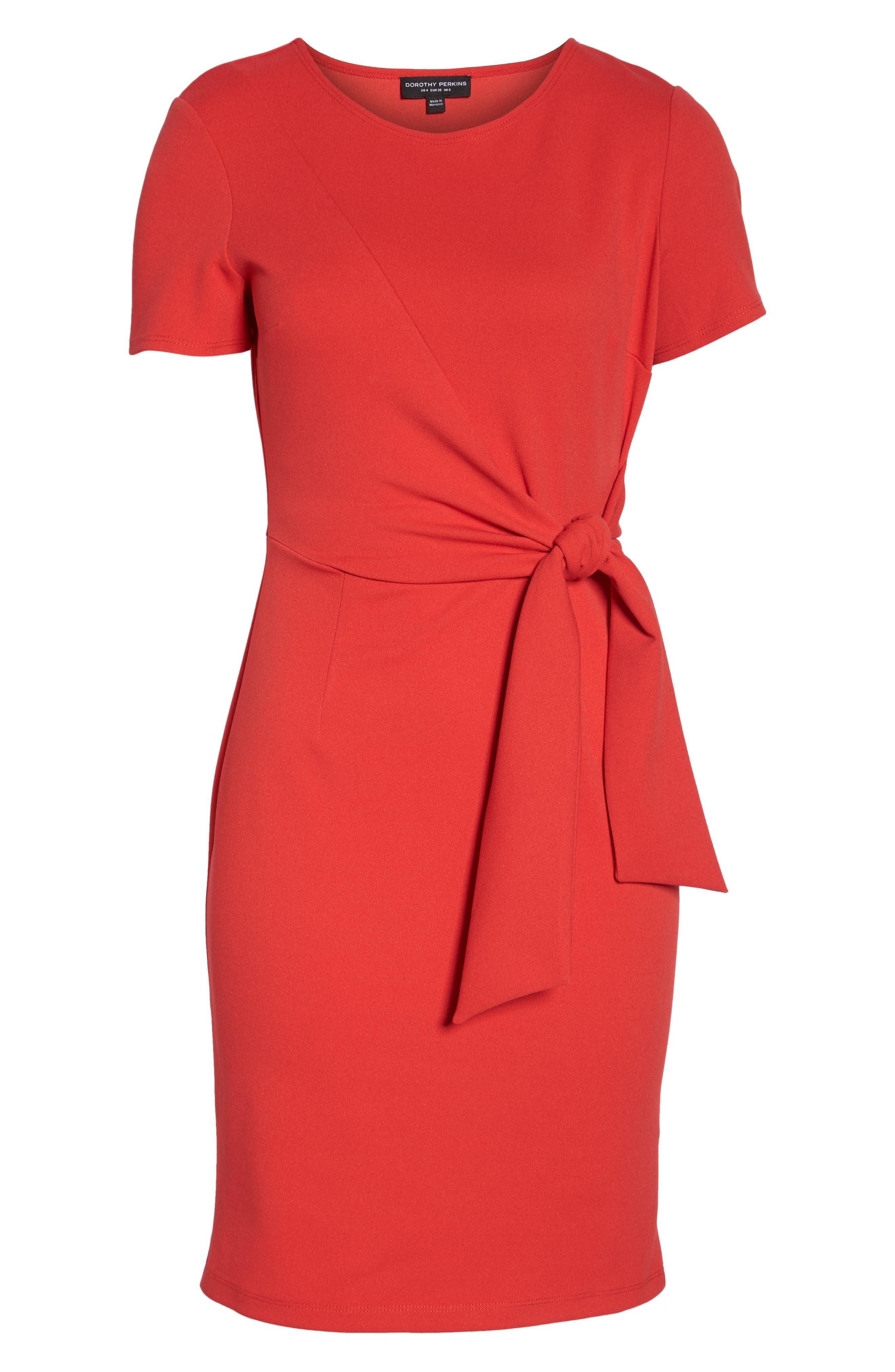 Tie Front Sheath Dress,                             Alternate thumbnail 7, color,                             Coral