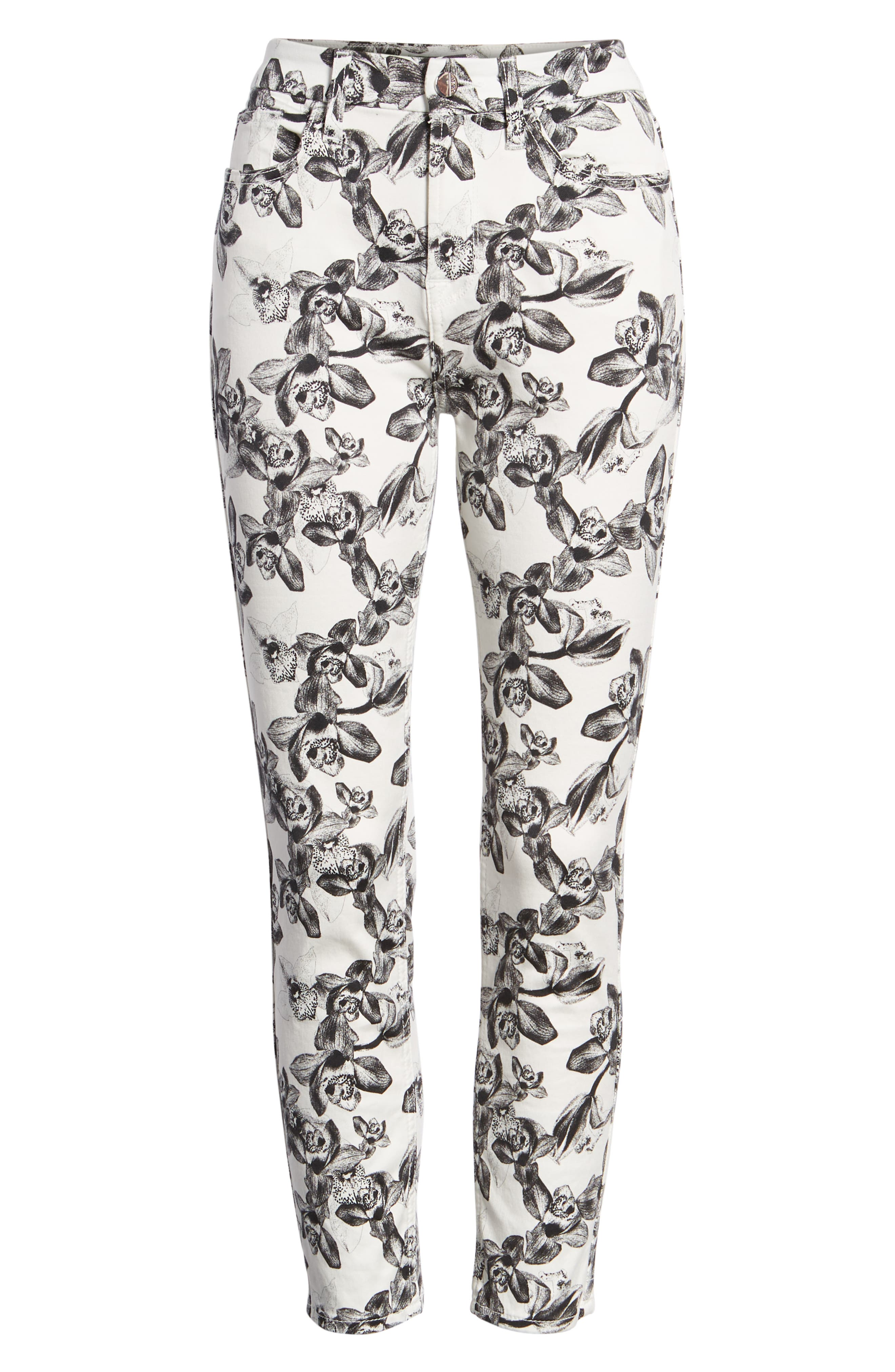 Print Crop Skinny Jeans,                             Alternate thumbnail 6, color,                             White/ Black Orchid