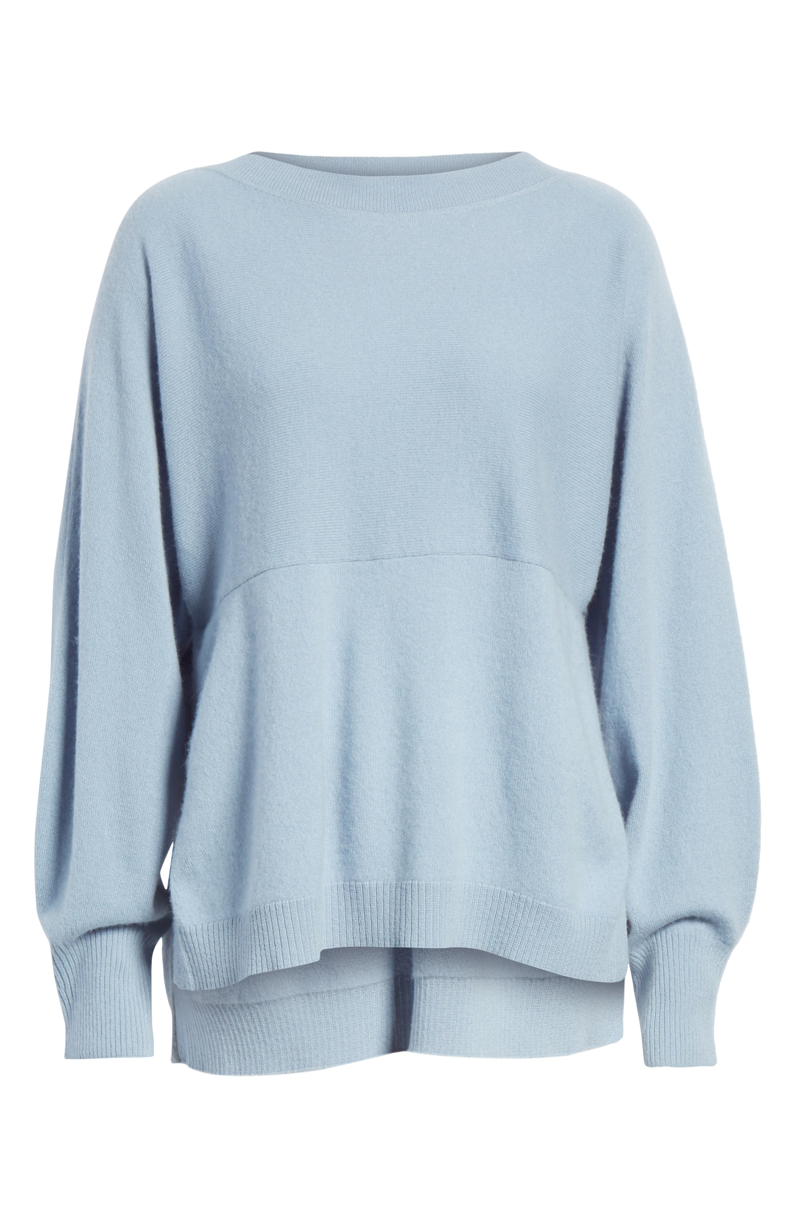Layered Back Wool Cashmere Boatneck Sweater,                             Alternate thumbnail 5, color,                             Glass