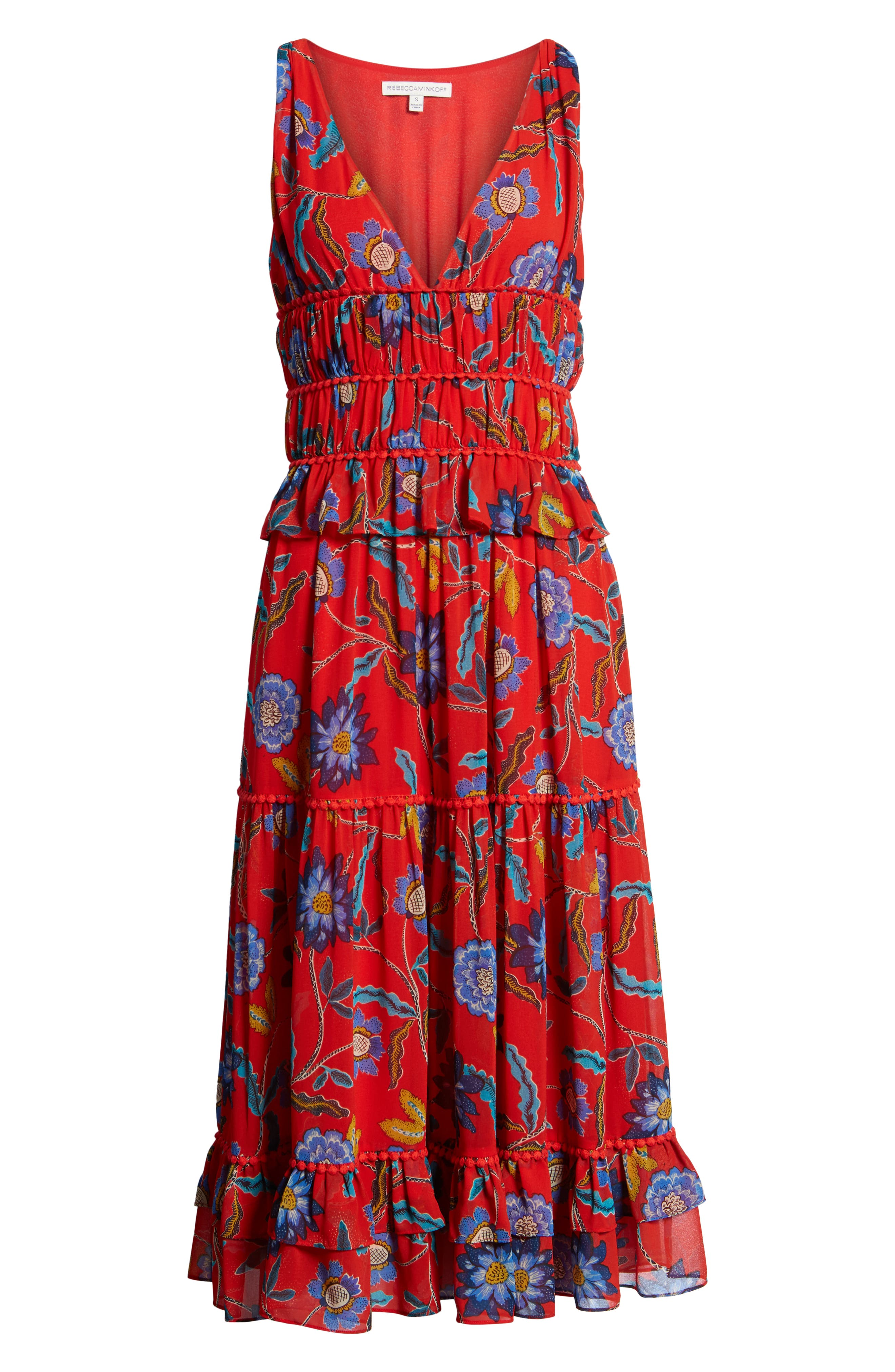 Lucy Floral Dress,                             Alternate thumbnail 6, color,                             Red Multi