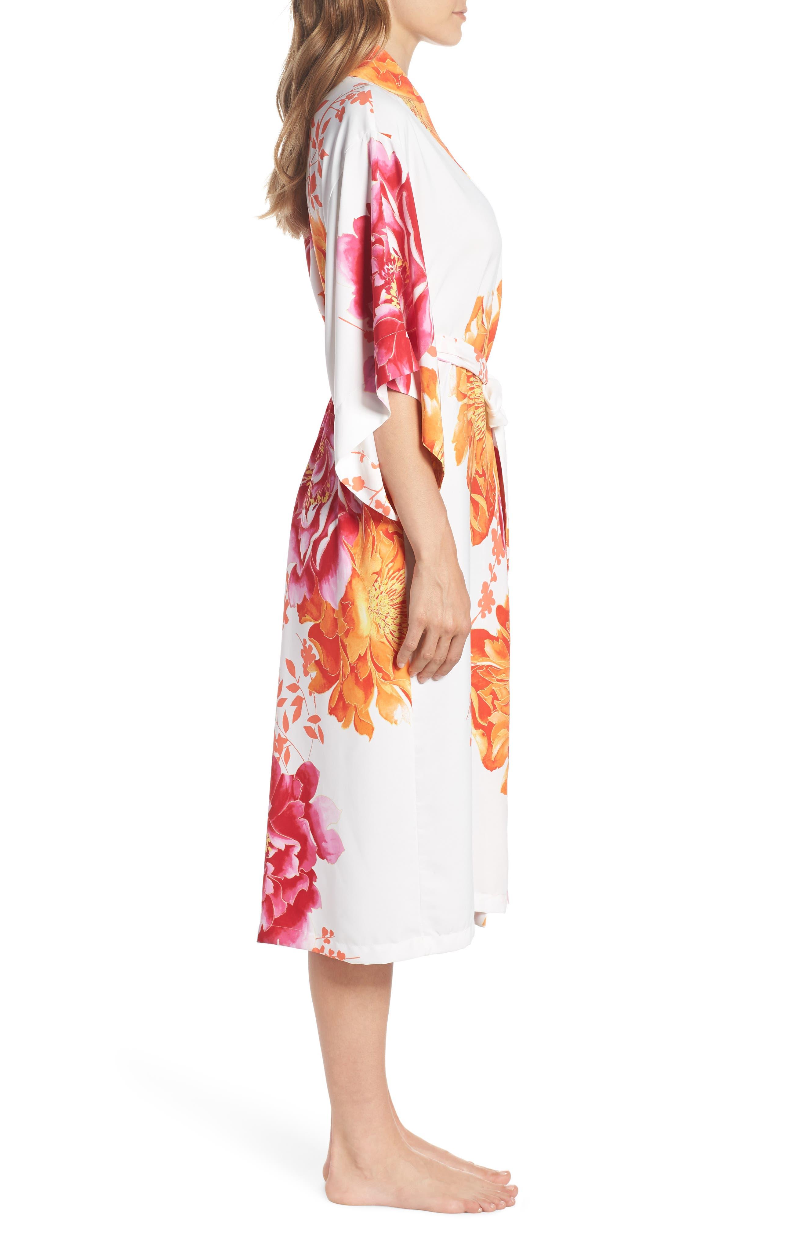 Bali Floral Print Robe,                             Alternate thumbnail 3, color,                             Warm White
