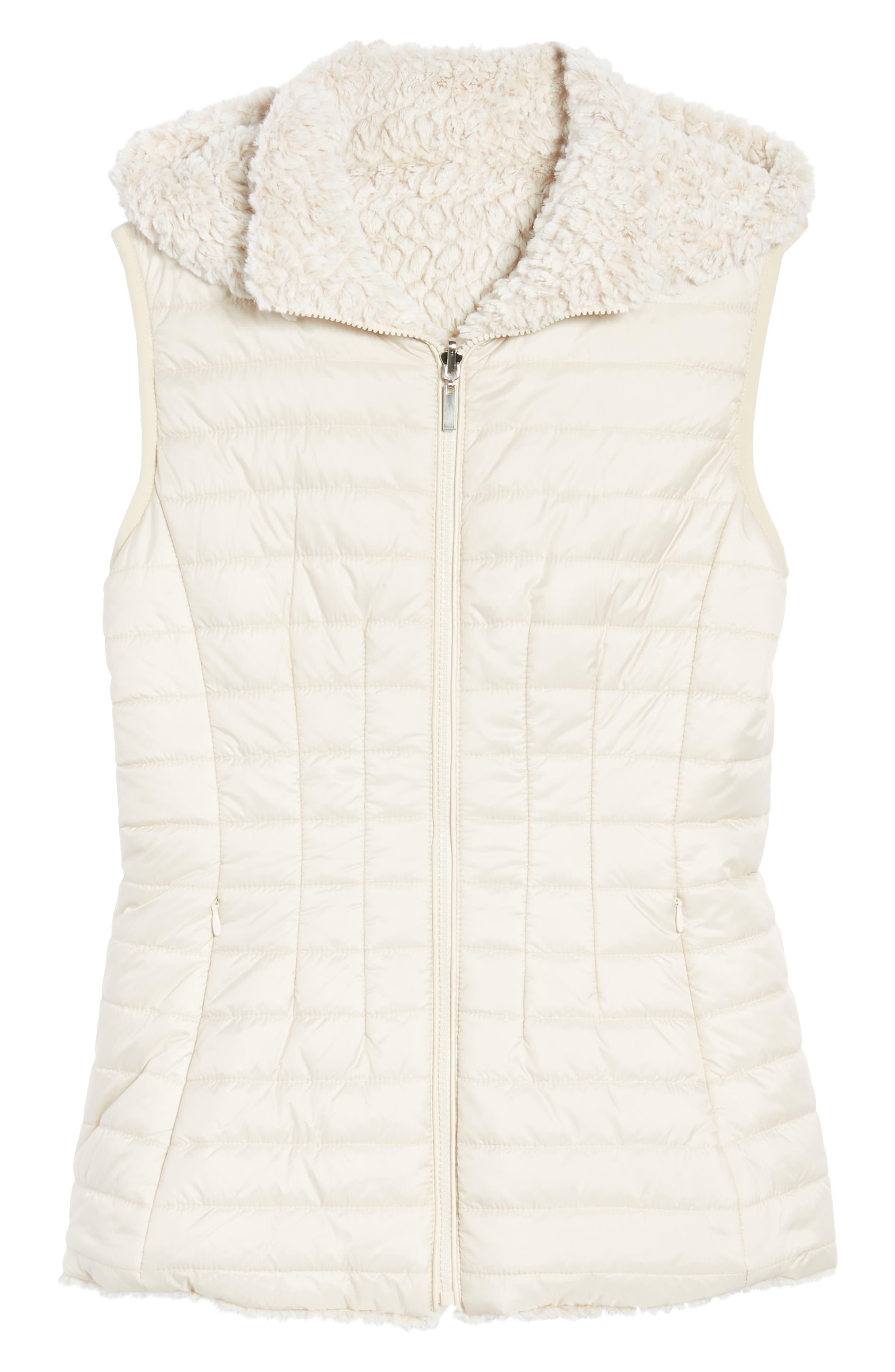 Faux Fur Reversible Hooded Vest,                             Alternate thumbnail 8, color,                             Custard