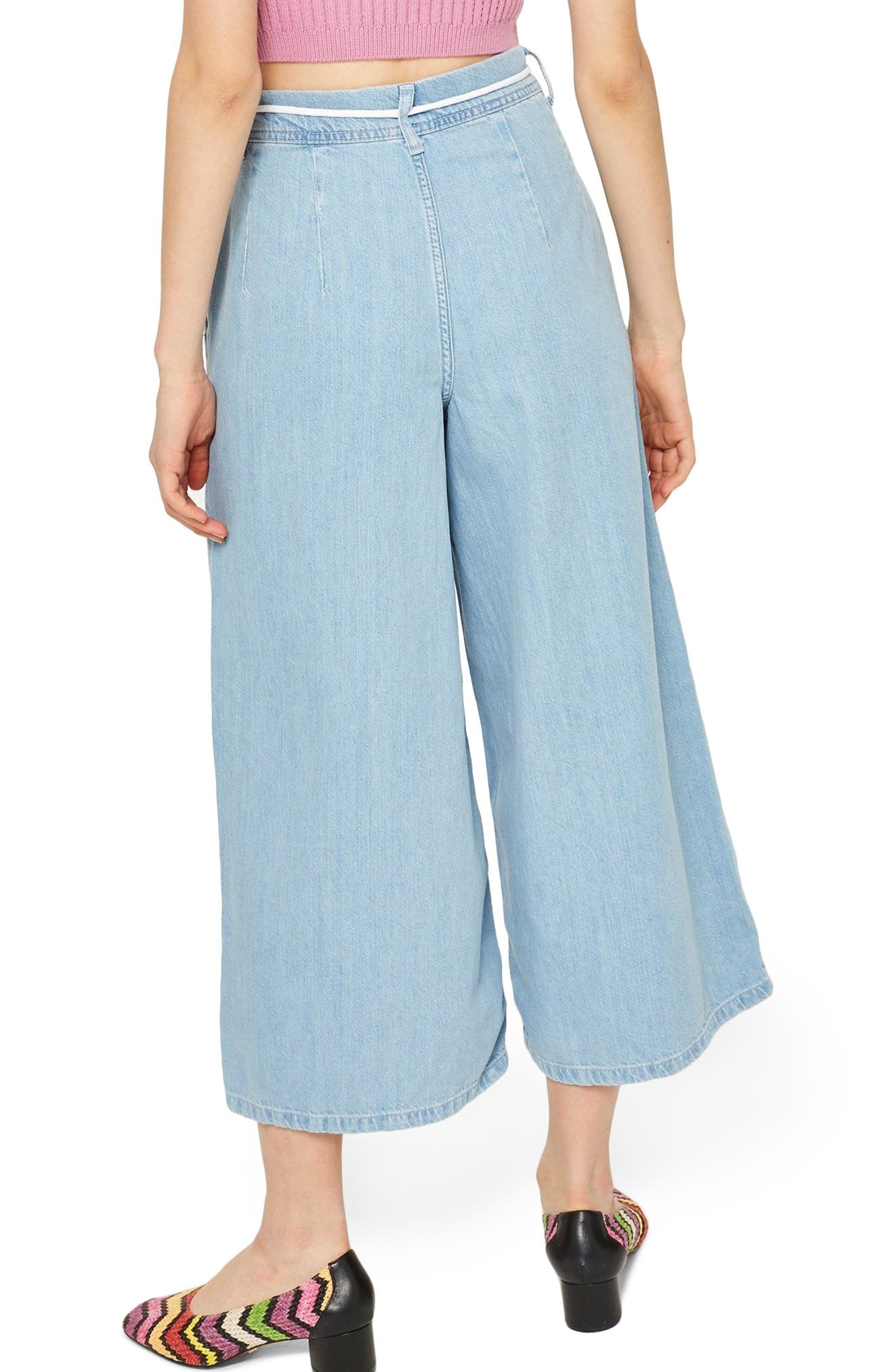 MOTO Pleat Tie Crop Wide-Leg Jeans,                             Alternate thumbnail 2, color,                             Light Bleach Denim