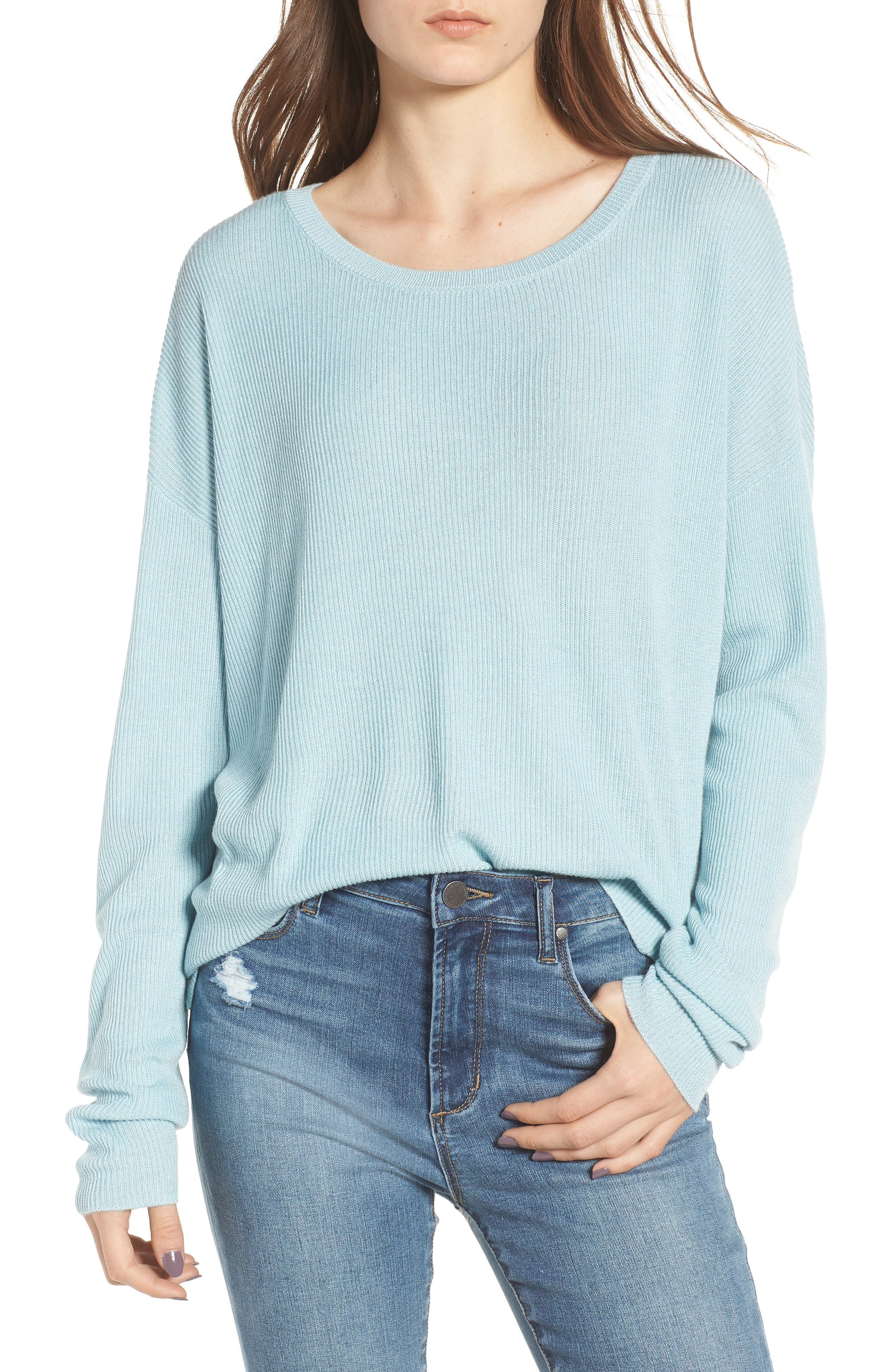 Drop Shoulder Ribbed Sweater,                             Main thumbnail 1, color,                             Blue Sterling
