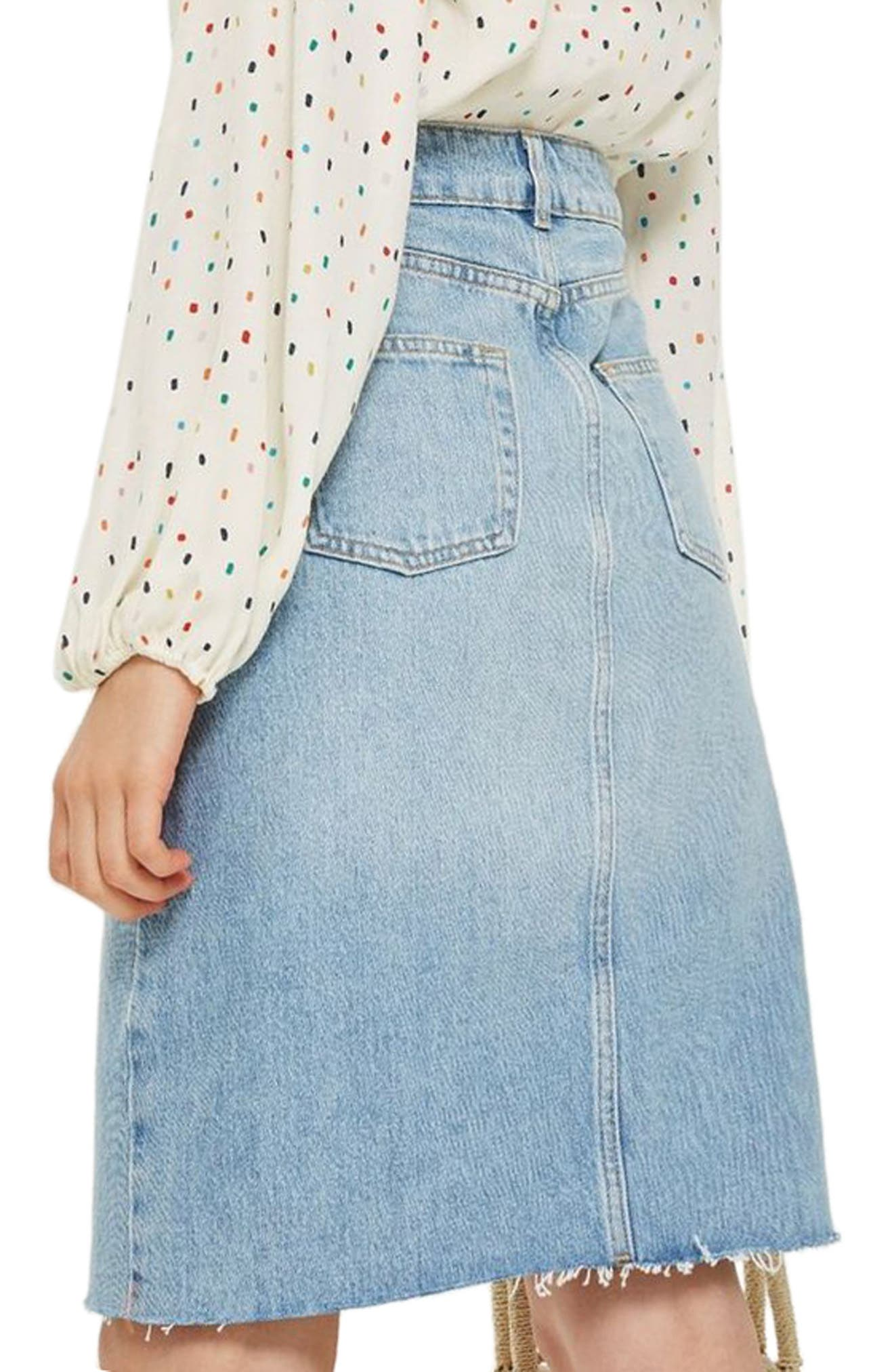 Denim Midi Skirt,                             Alternate thumbnail 2, color,                             Mid Denim