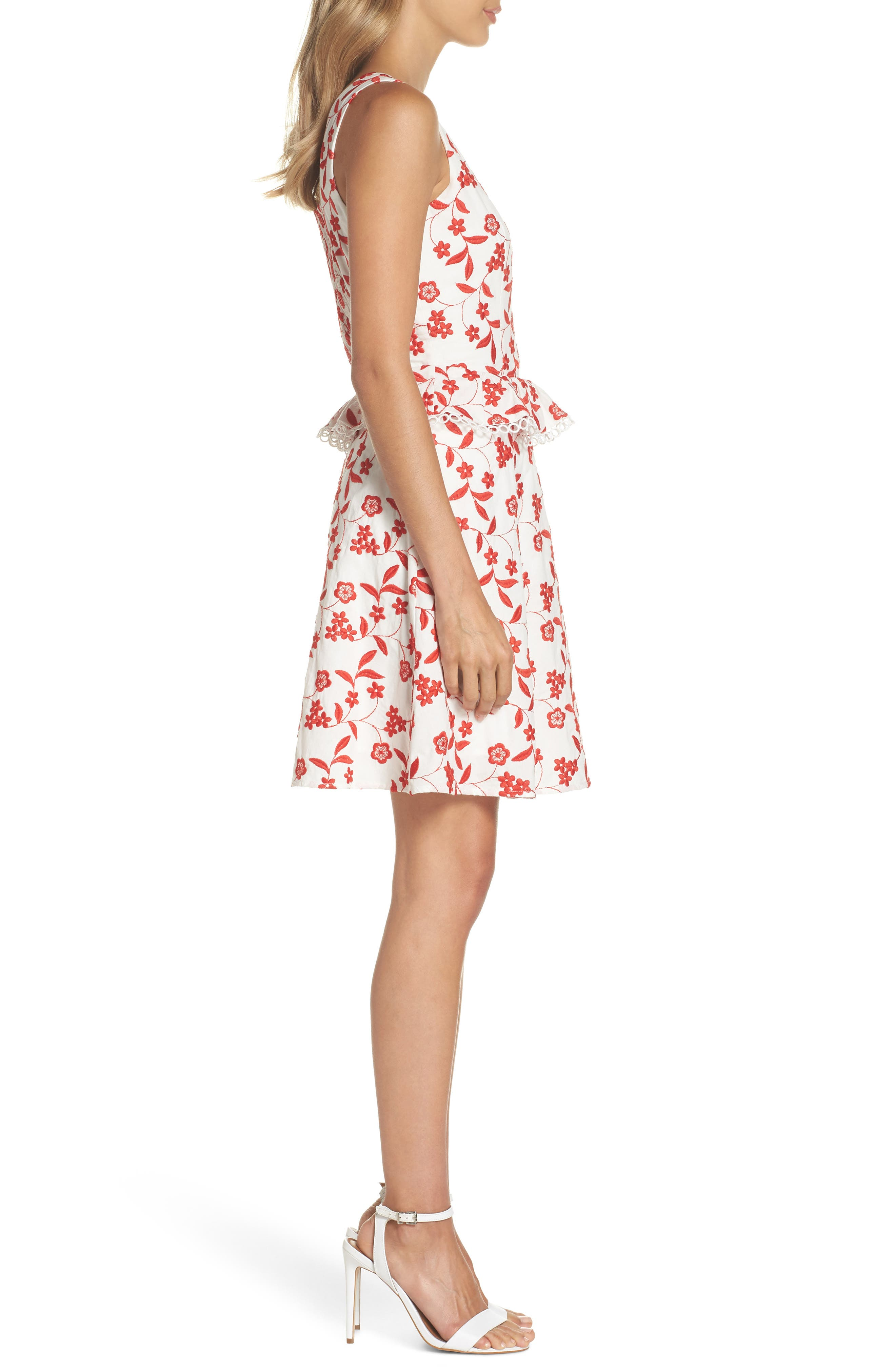 Aubrey Embroidered Cotton Dress,                             Alternate thumbnail 3, color,                             Flame