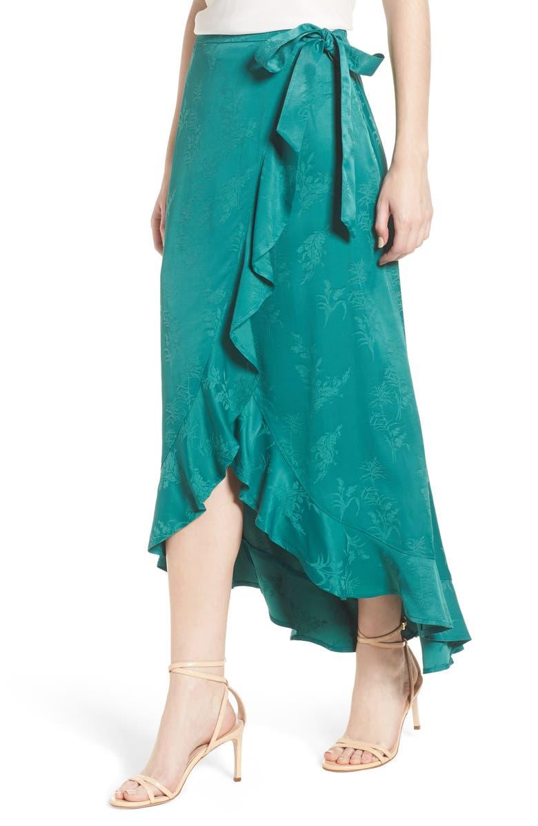 Jacquard High/Low Wrap Skirt