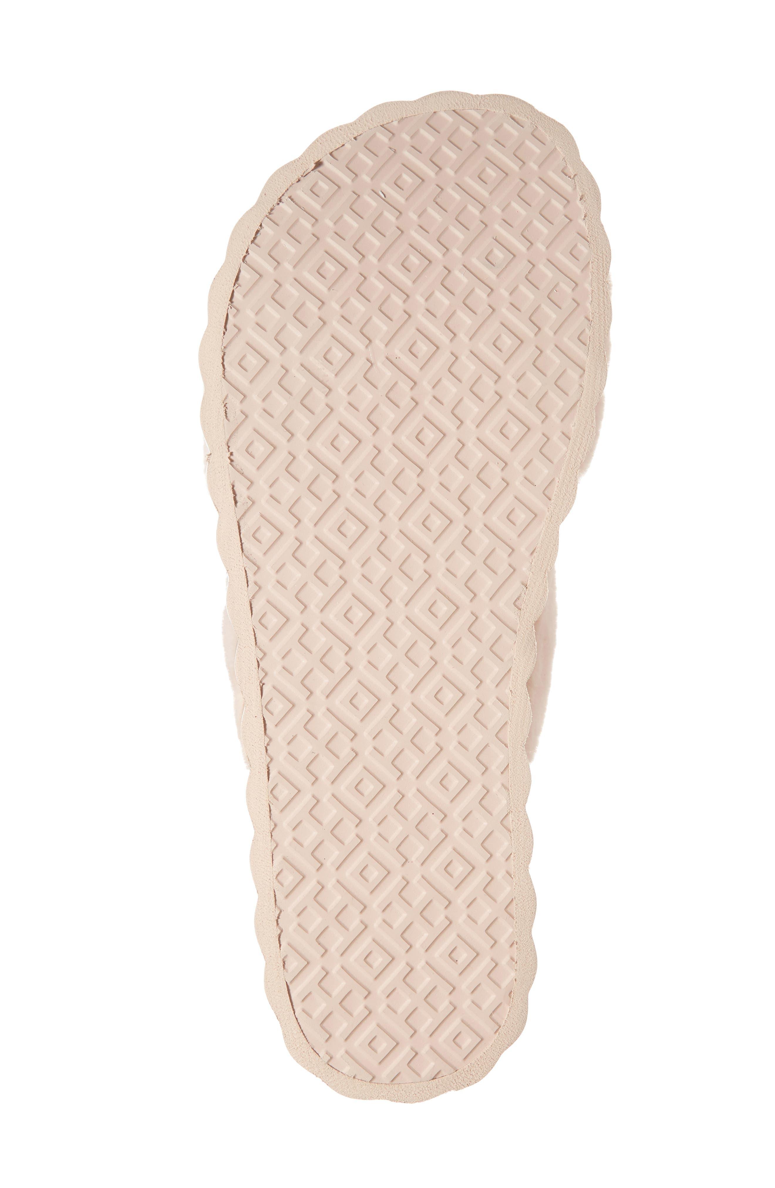 Faux Fur Scallop Platform Slide Sandal,                             Alternate thumbnail 6, color,                             Sea Shell Pink