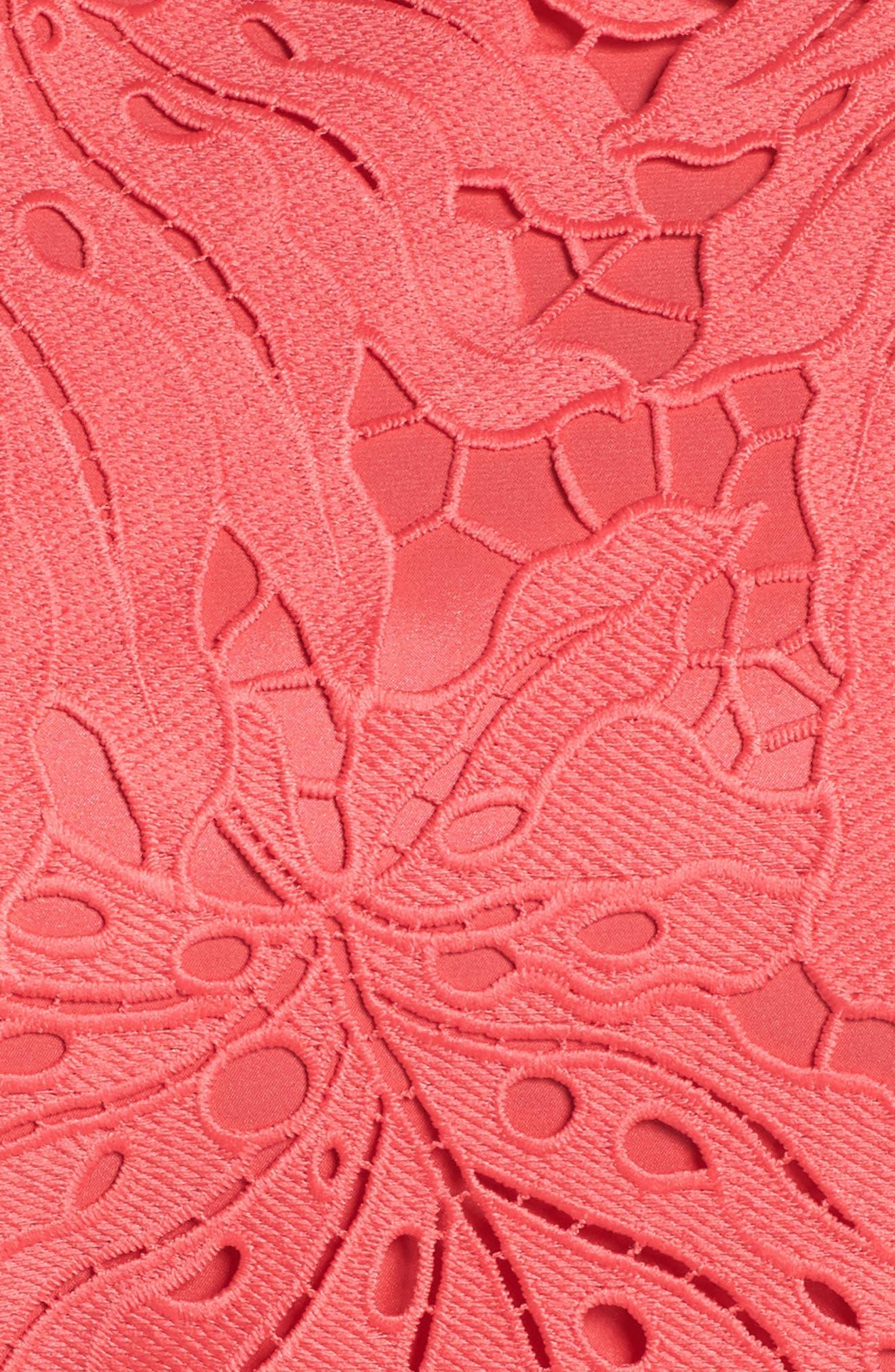Palm Leaf Chemical Lace A-Line Dress,                             Alternate thumbnail 6, color,                             Watermelon