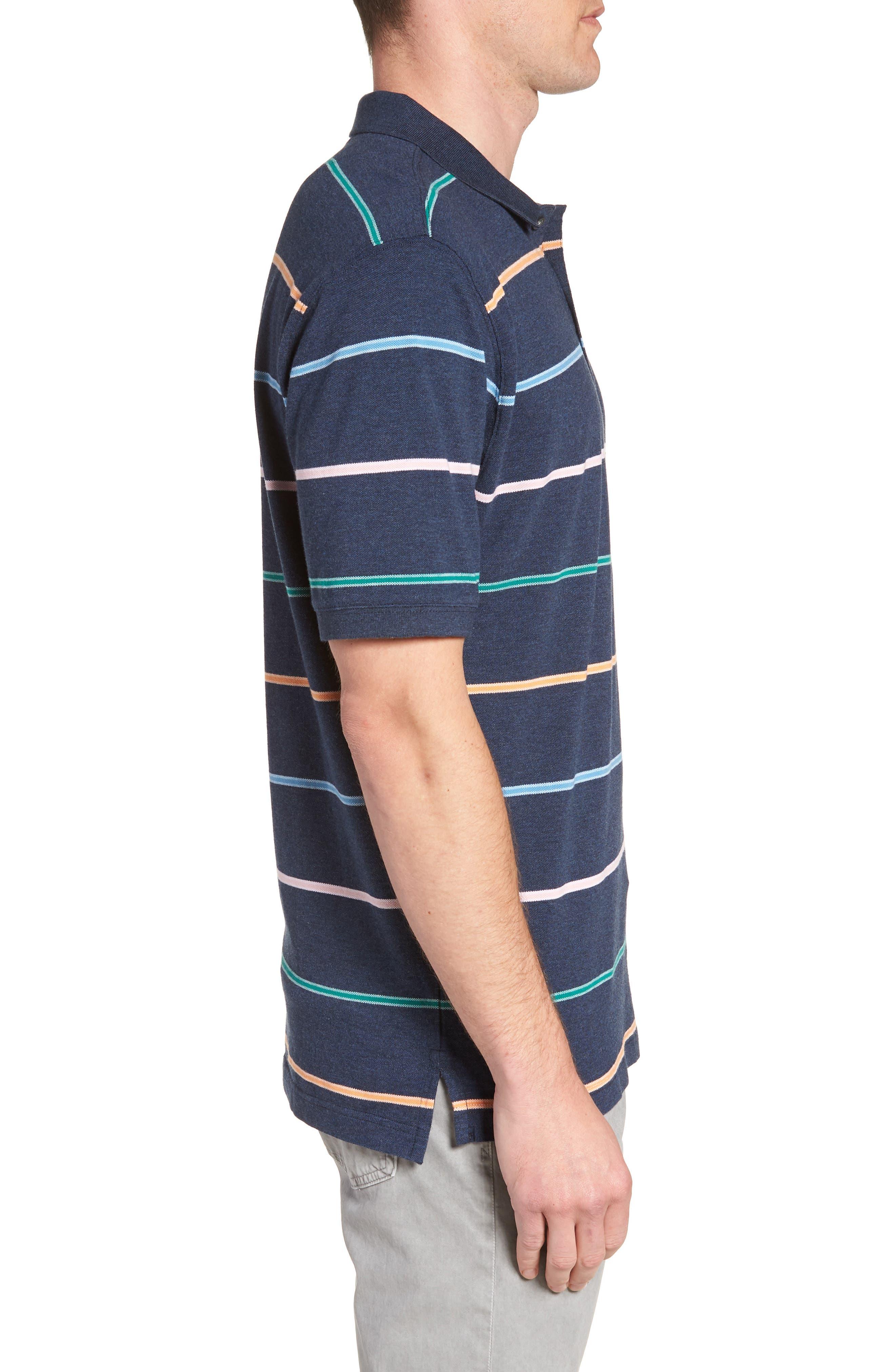 Caberfield Regular Fit Stripe Polo,                             Alternate thumbnail 3, color,                             Ocean