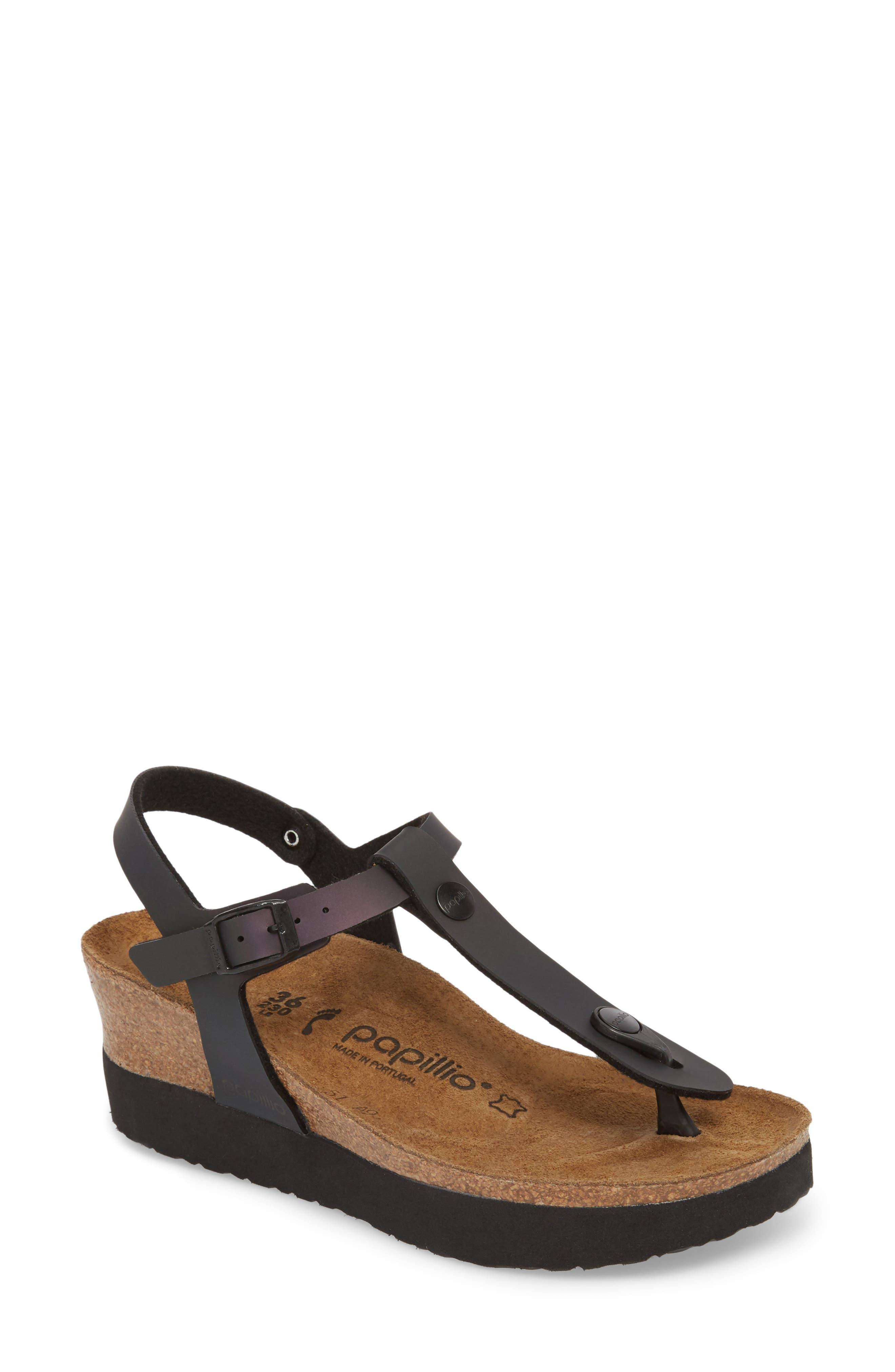 Ashley Sandal,                         Main,                         color, Iridescent Black Leather