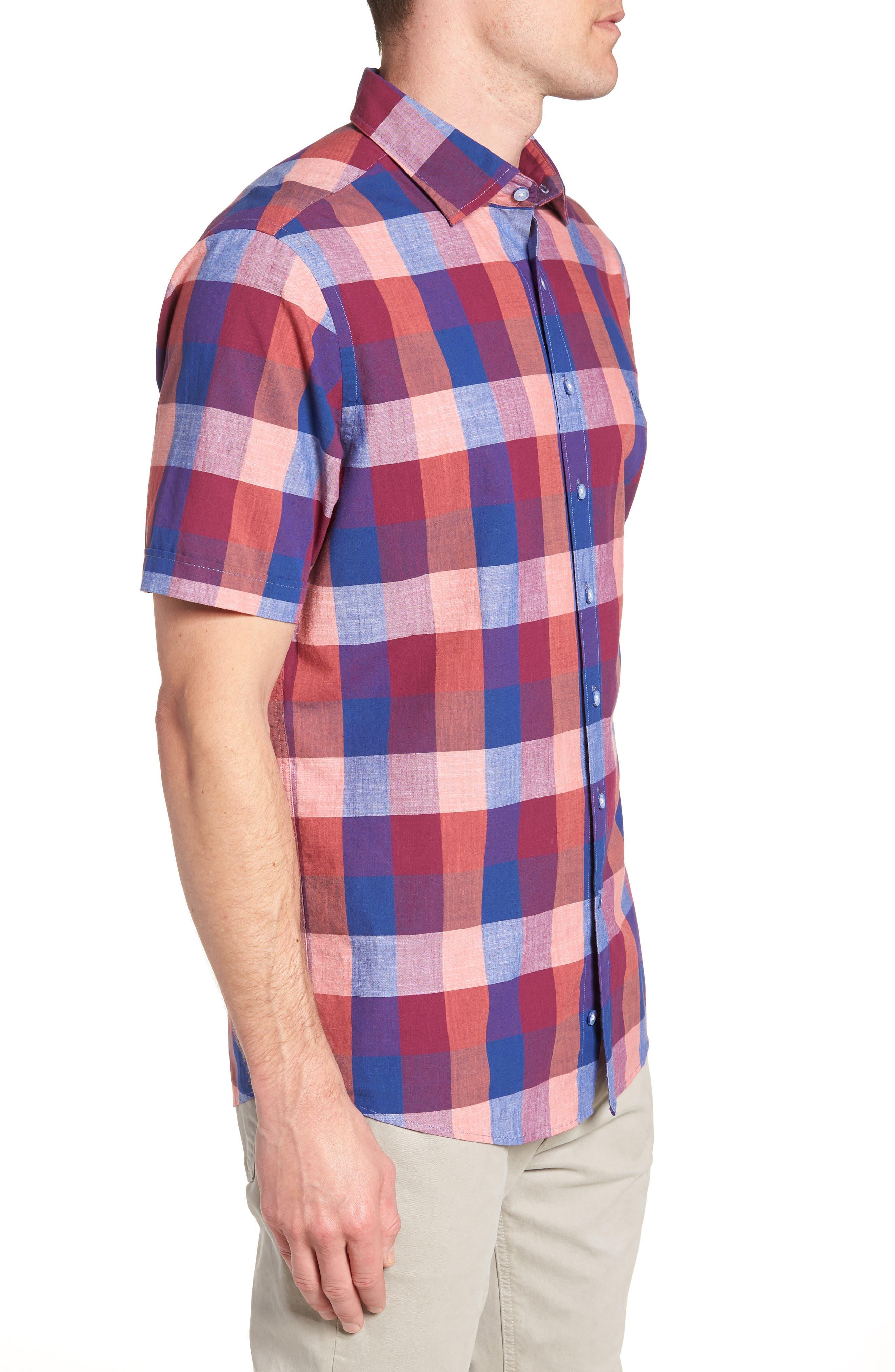 Knighton Regular Fit Sport Shirt,                             Alternate thumbnail 4, color,                             Berry