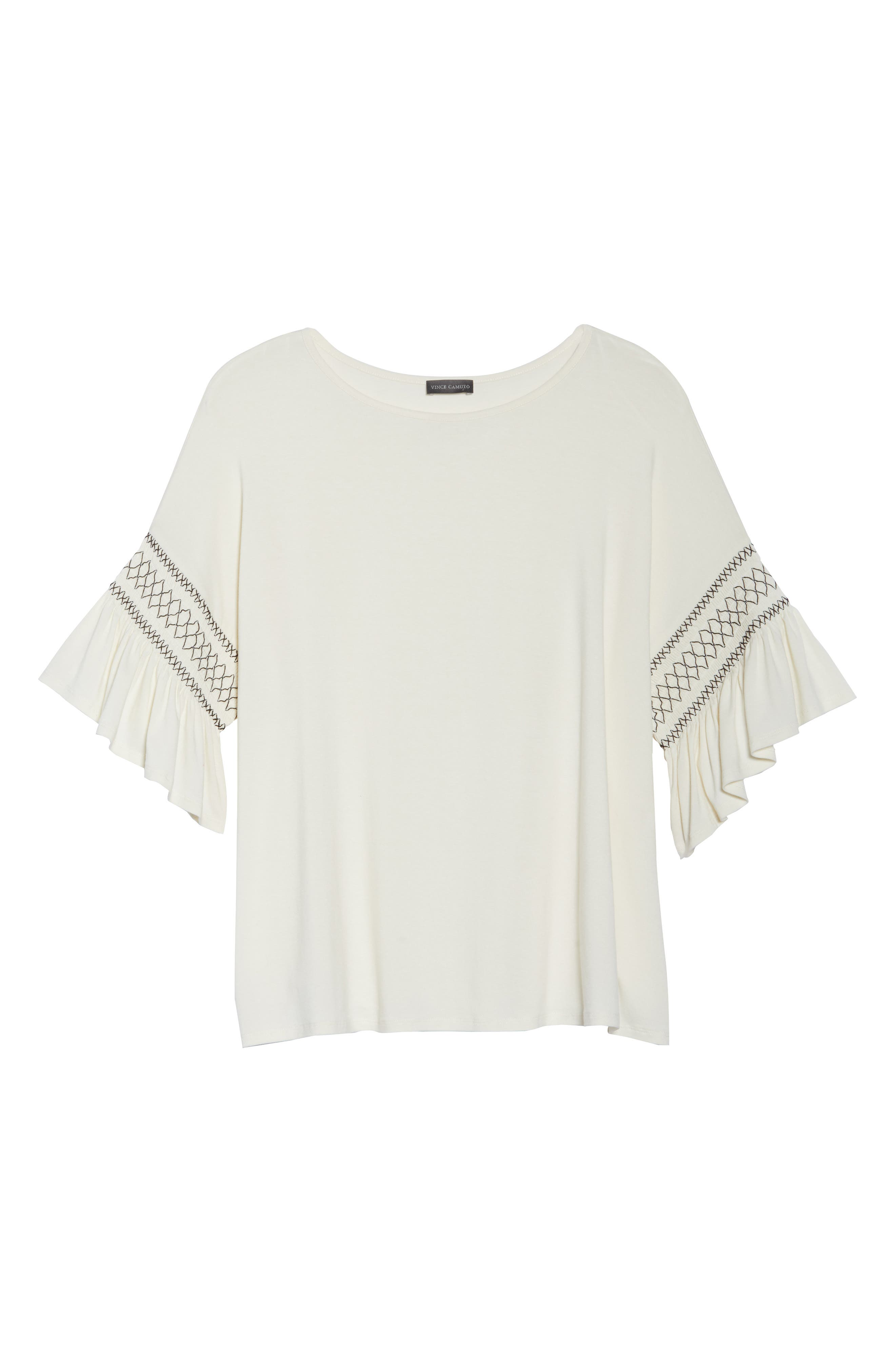 Smocked Ruffle Sleeve Top,                             Alternate thumbnail 7, color,                             Antique White