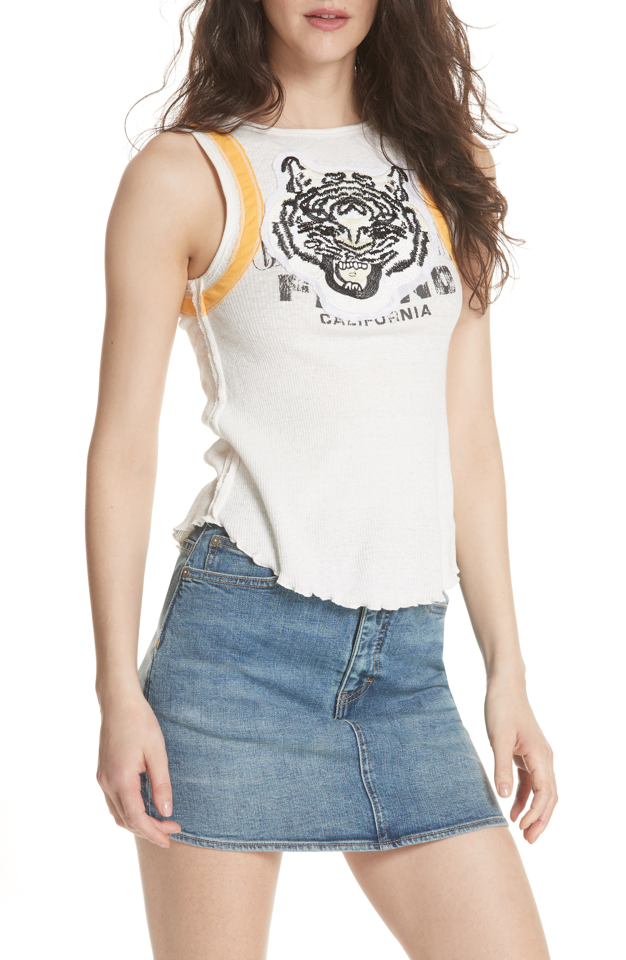 We the Free by Free People Mini Moto Graphic Tank,                             Alternate thumbnail 7, color,                             White