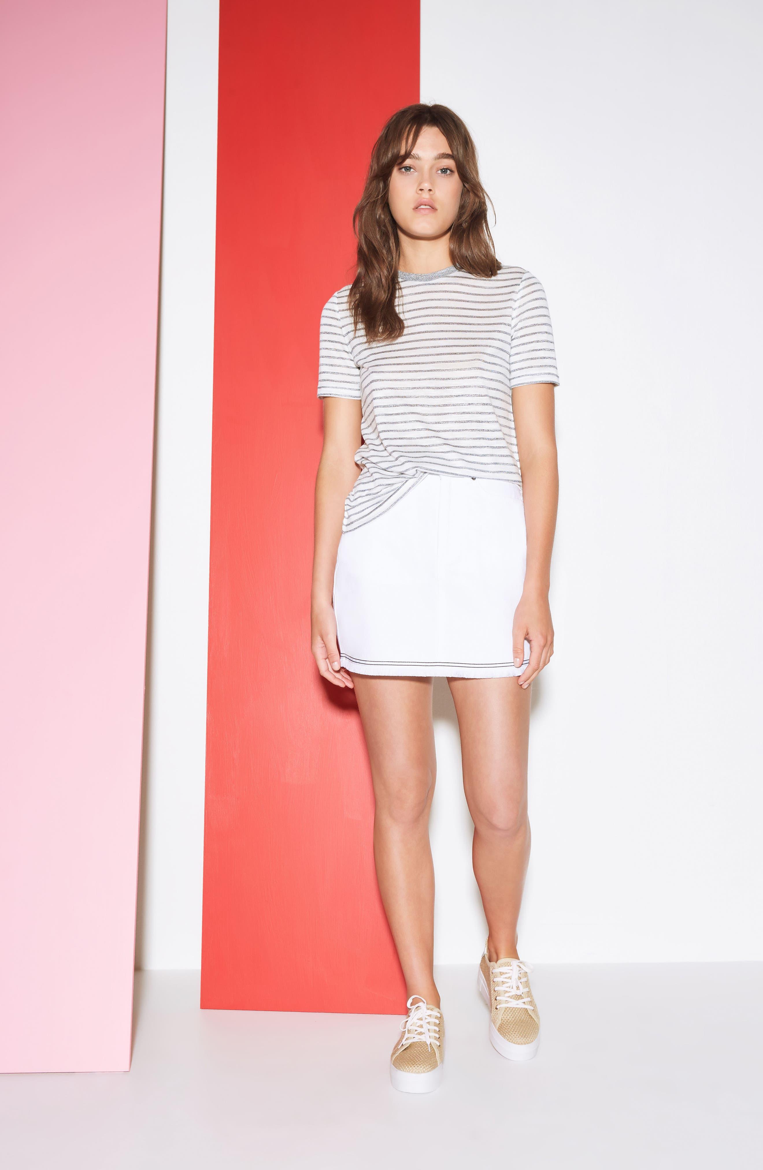 Social Fray Hem Denim Miniskirt,                             Alternate thumbnail 2, color,                             White