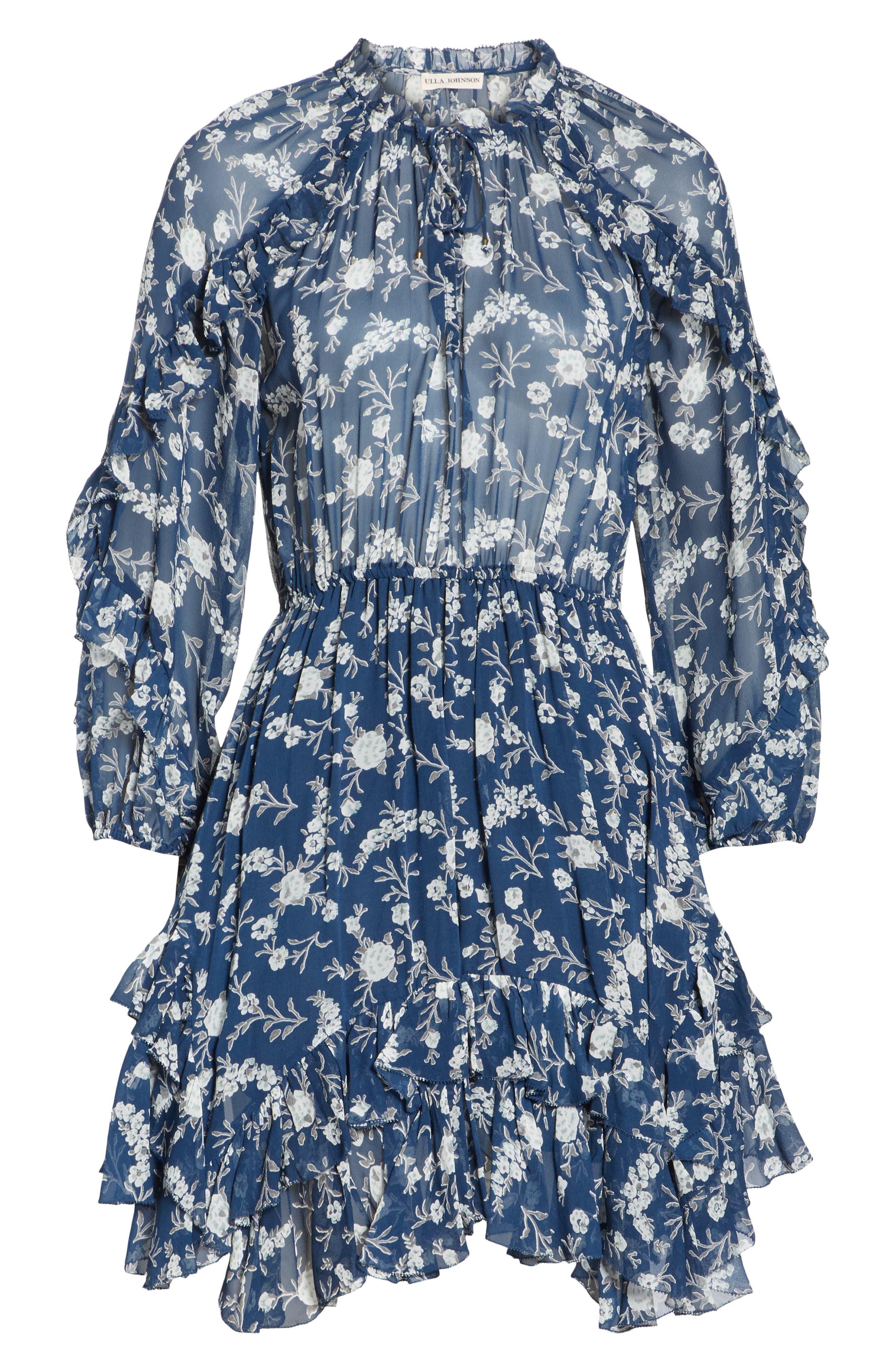 Alissa Silk Dress,                             Alternate thumbnail 6, color,                             Azure