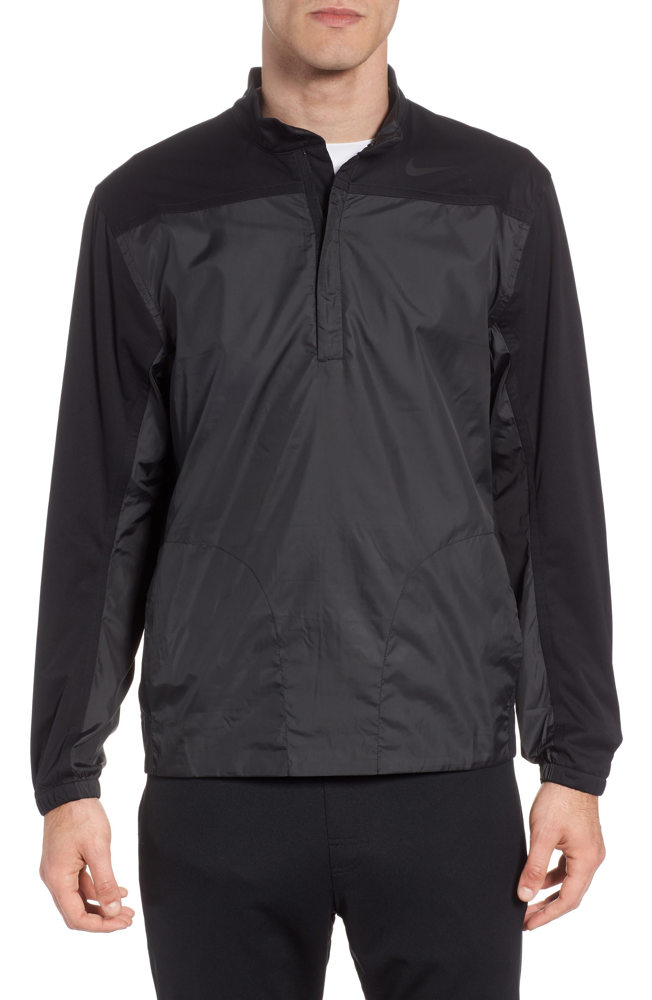 Shield Full Zip Golf Jacket,                             Main thumbnail 1, color,                             Black/ Silver