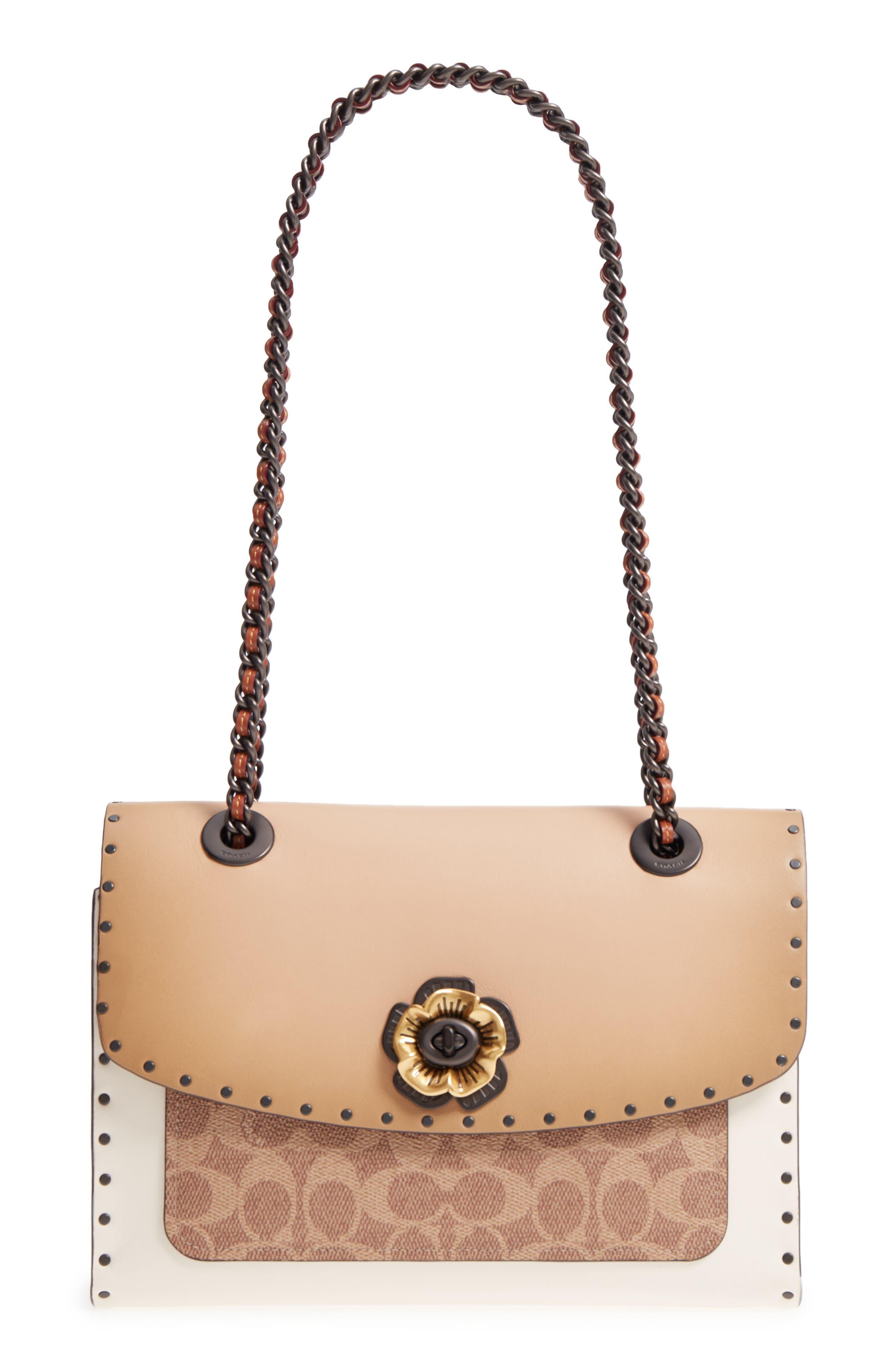 COACH Parker Leather & Genuine Snakeskin Shoulder Bag